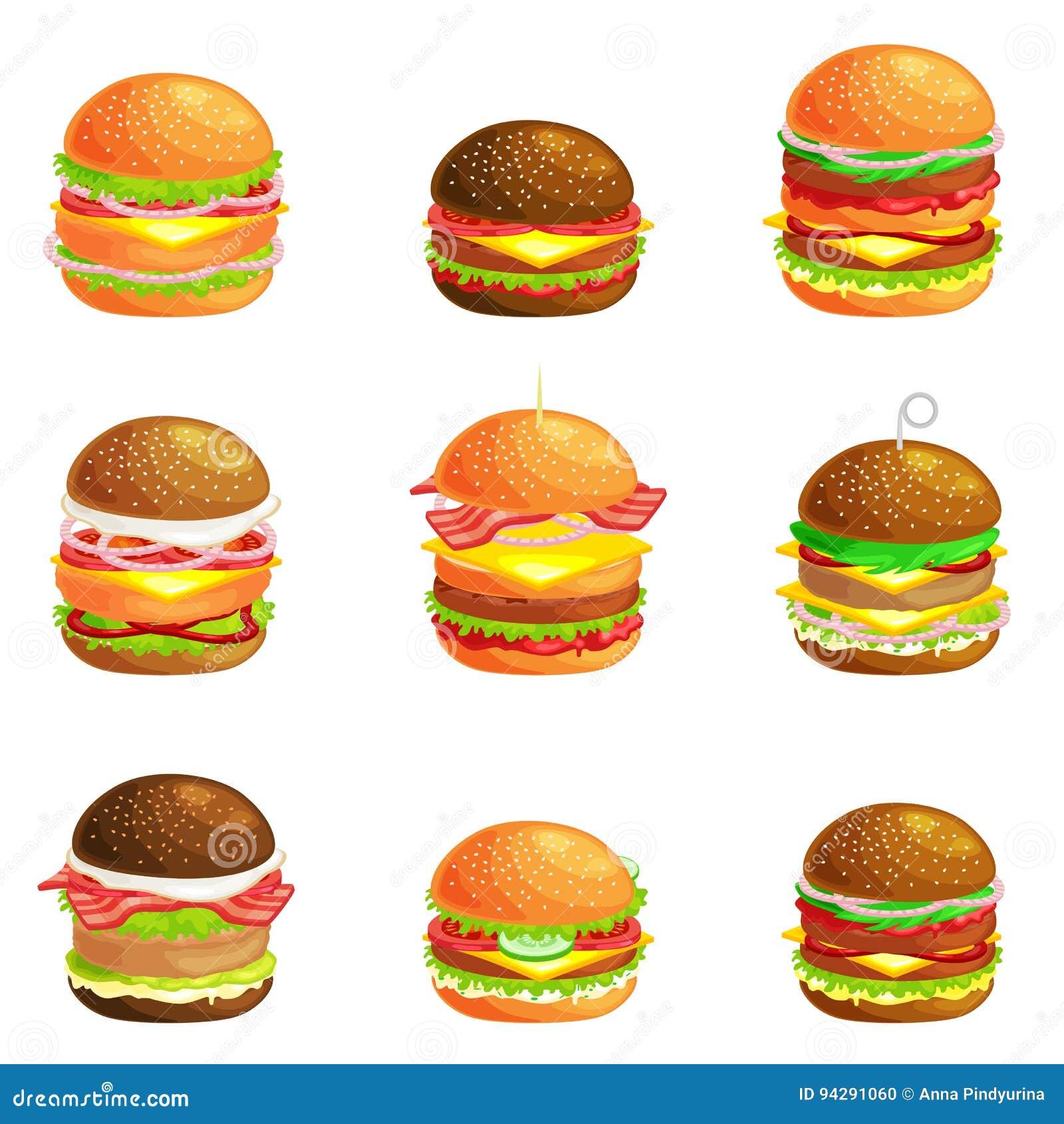 套鲜美汉堡烤了牛肉,并且新鲜蔬菜穿戴用在小圆面包的调味汁快餐或午餐的,汉堡包是