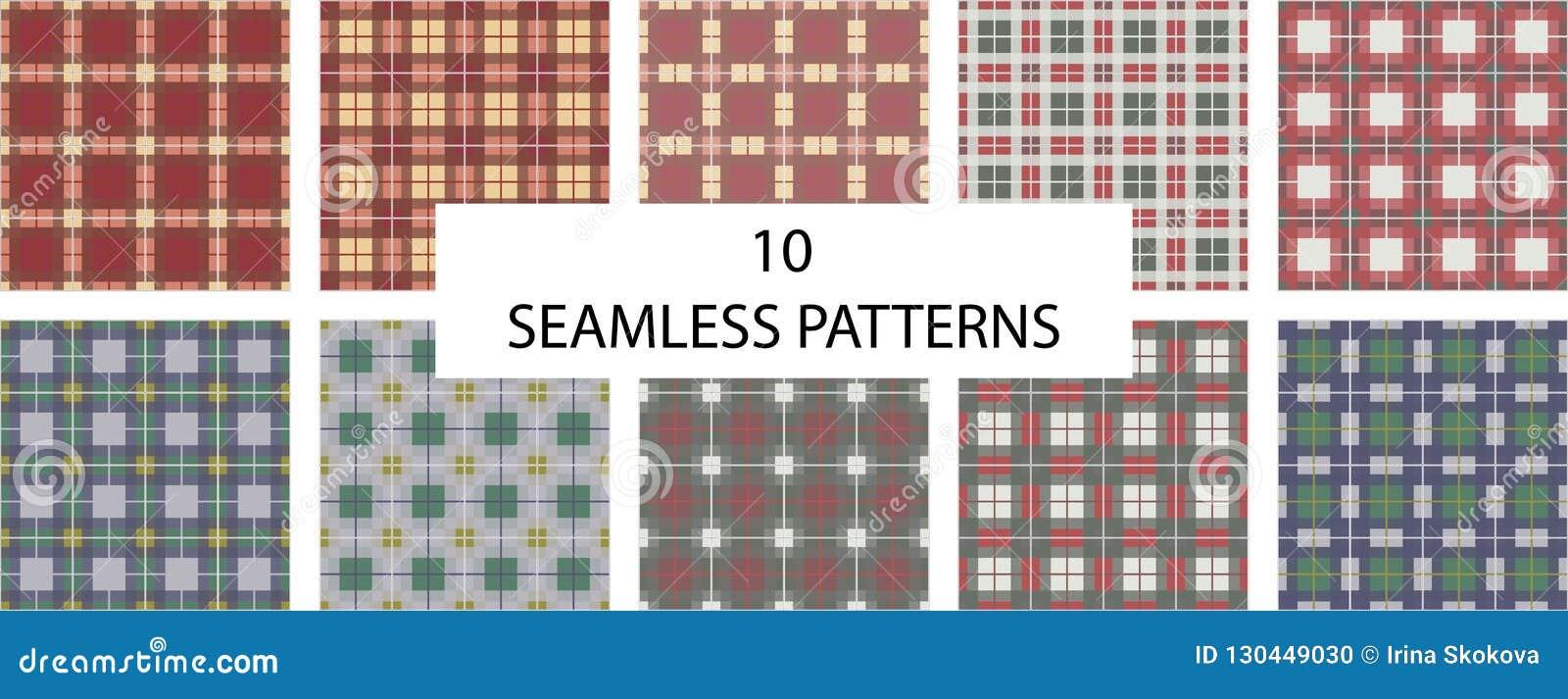 套10个无缝的样式 检查格子花呢披肩纹理无缝的样式 英国检查