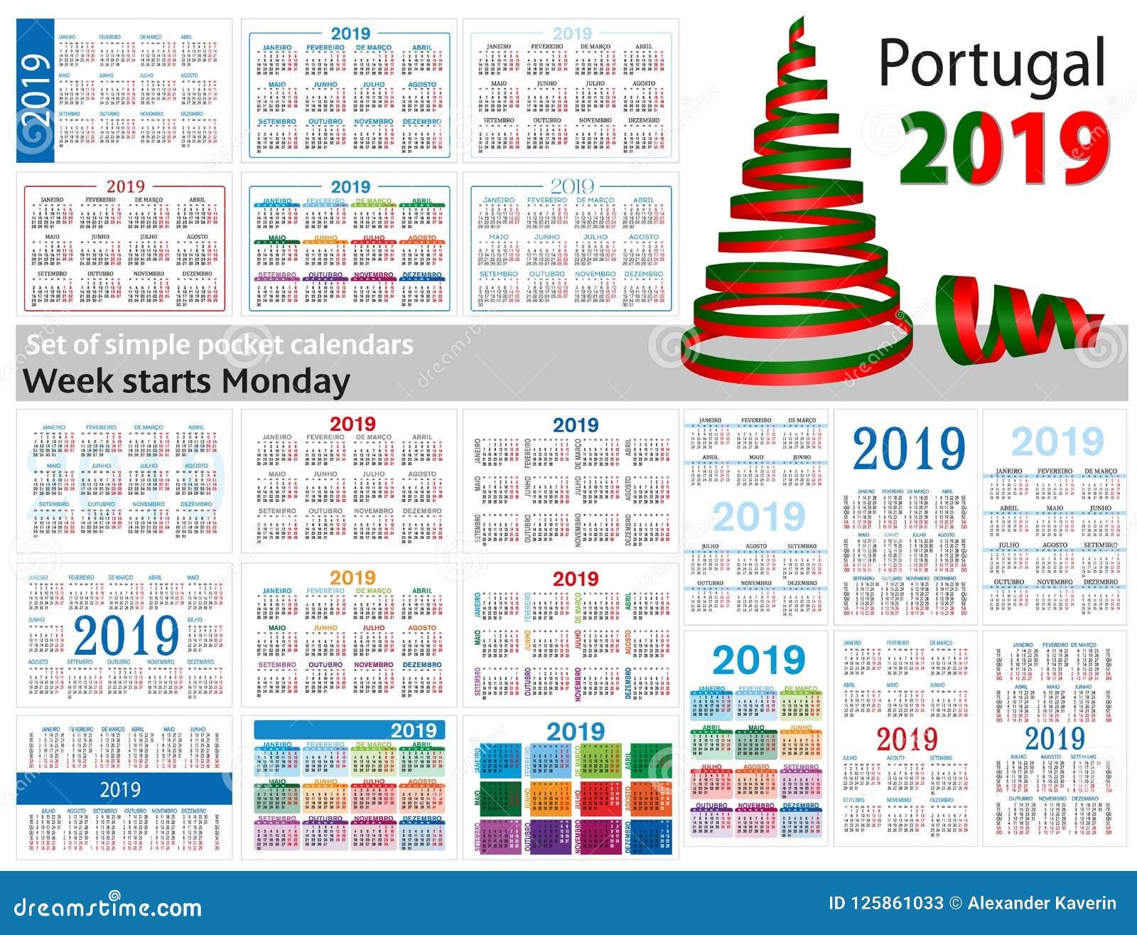 套2019二千十九的简单的口袋日历 星期星期一开始 从葡萄牙的翻译-