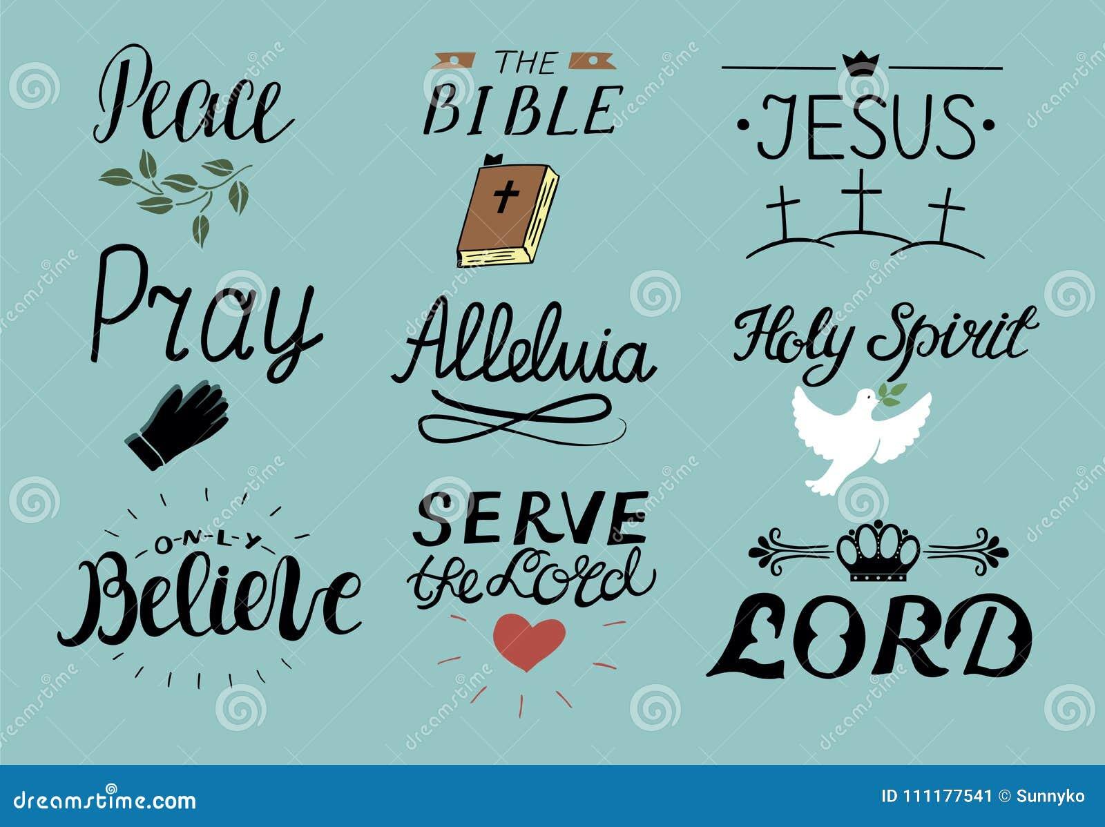 套9只手字法基督徒引述耶稣 圣灵 服务阁下 祈祷 只相信 书目 哈利路亚与