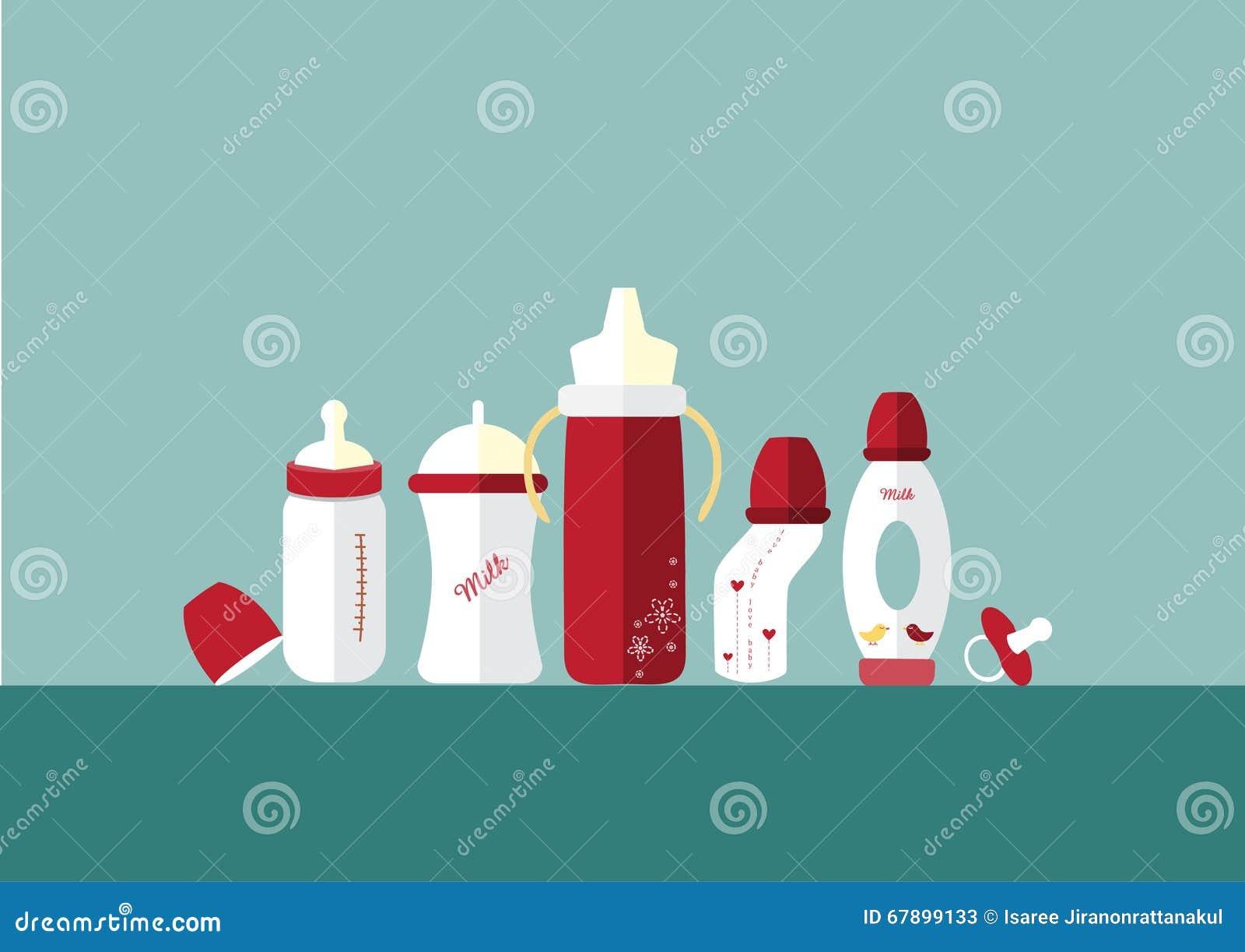 套婴孩牛奶瓶和安慰者,传染媒介例证