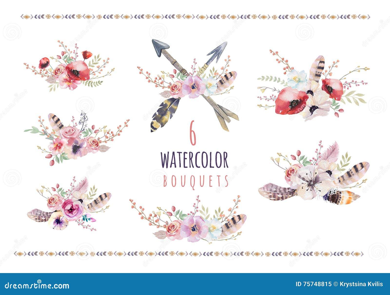 套水彩葡萄酒百花香 Boho春天开花和在白色背景隔绝的叶子框架:多汁