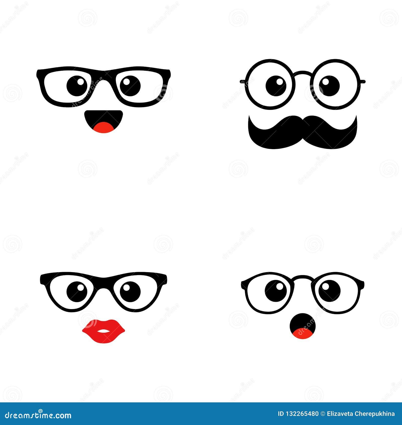 套Emoji 河合町逗人喜爱的面孔 滑稽的意思号 平的象 也corel凹道例证向量