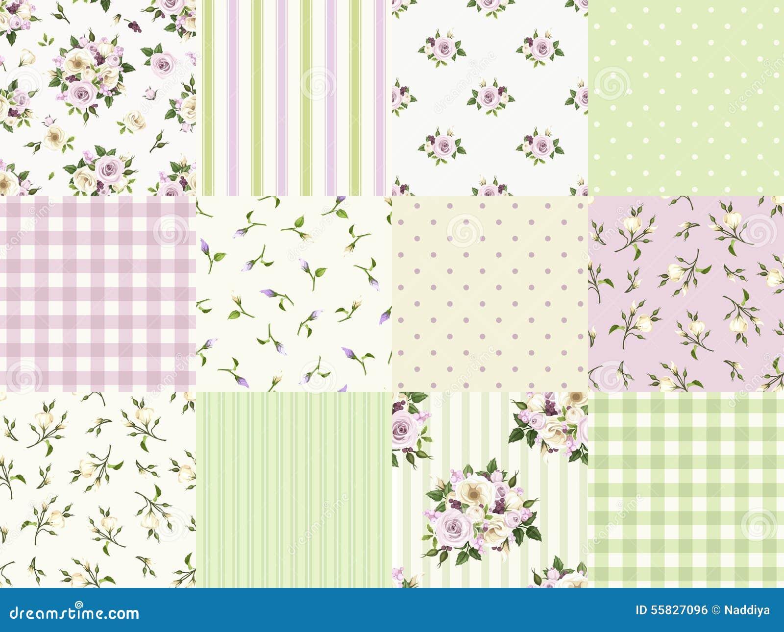 套scrapbooking的无缝的花卉和几何样式 也corel凹道例证向量