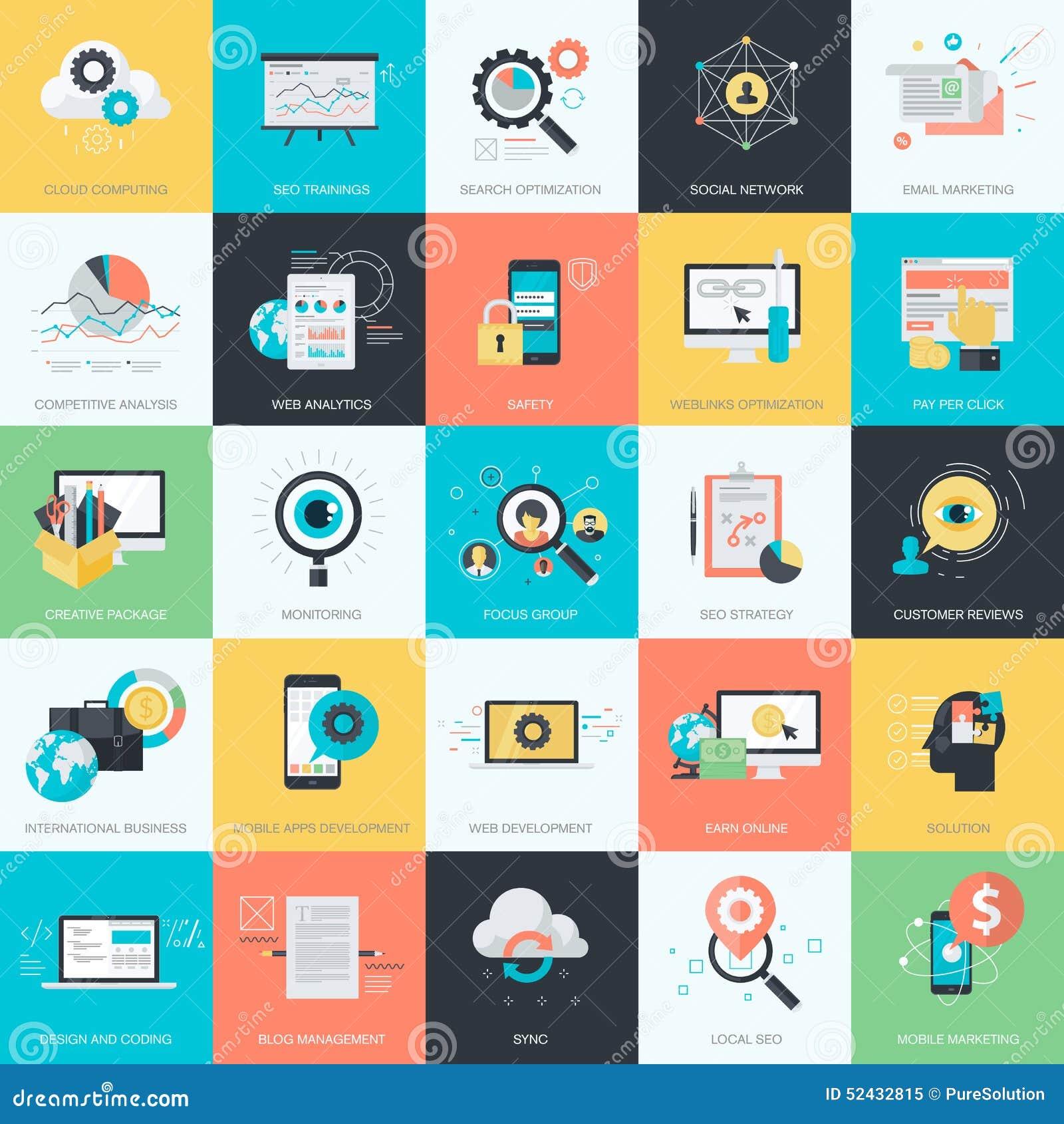 套SEO的平的设计样式象,社会网络,电子商务