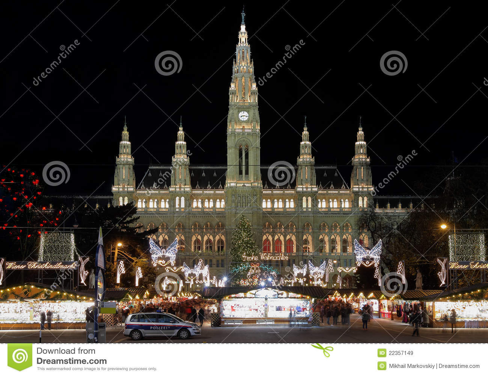 奥地利圣诞节市政厅市场维也纳