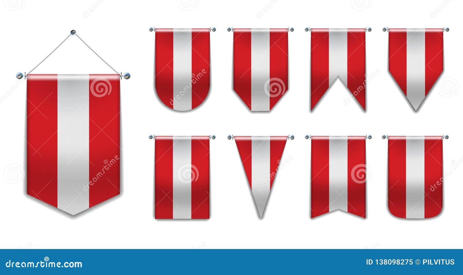 奥地利 奥地利的垂悬的旗子的集合变化形状 与纹理的模板信号旗任意全国横幅 可实现