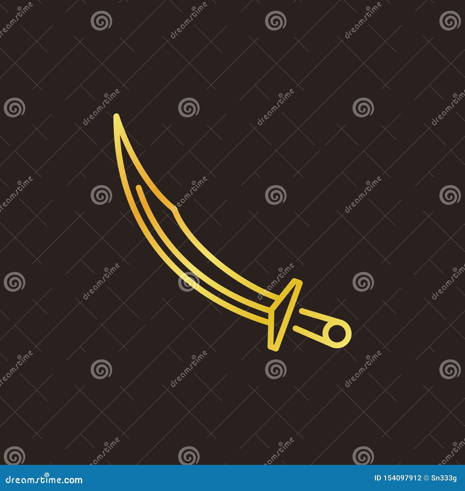 奥托曼短弯刀传染媒介色的线性象或商标元素