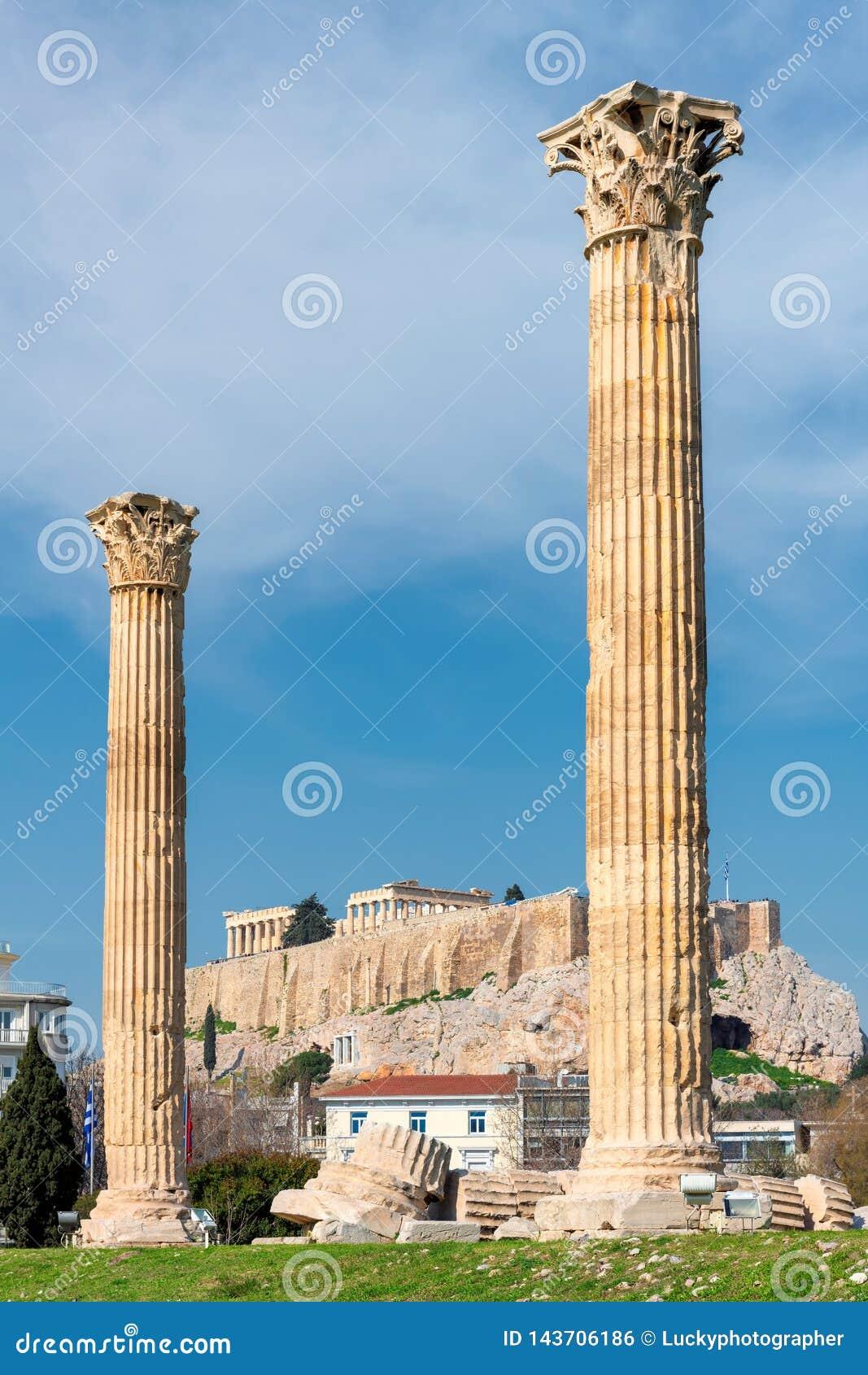 奥林山宙斯专栏在雅典希腊,