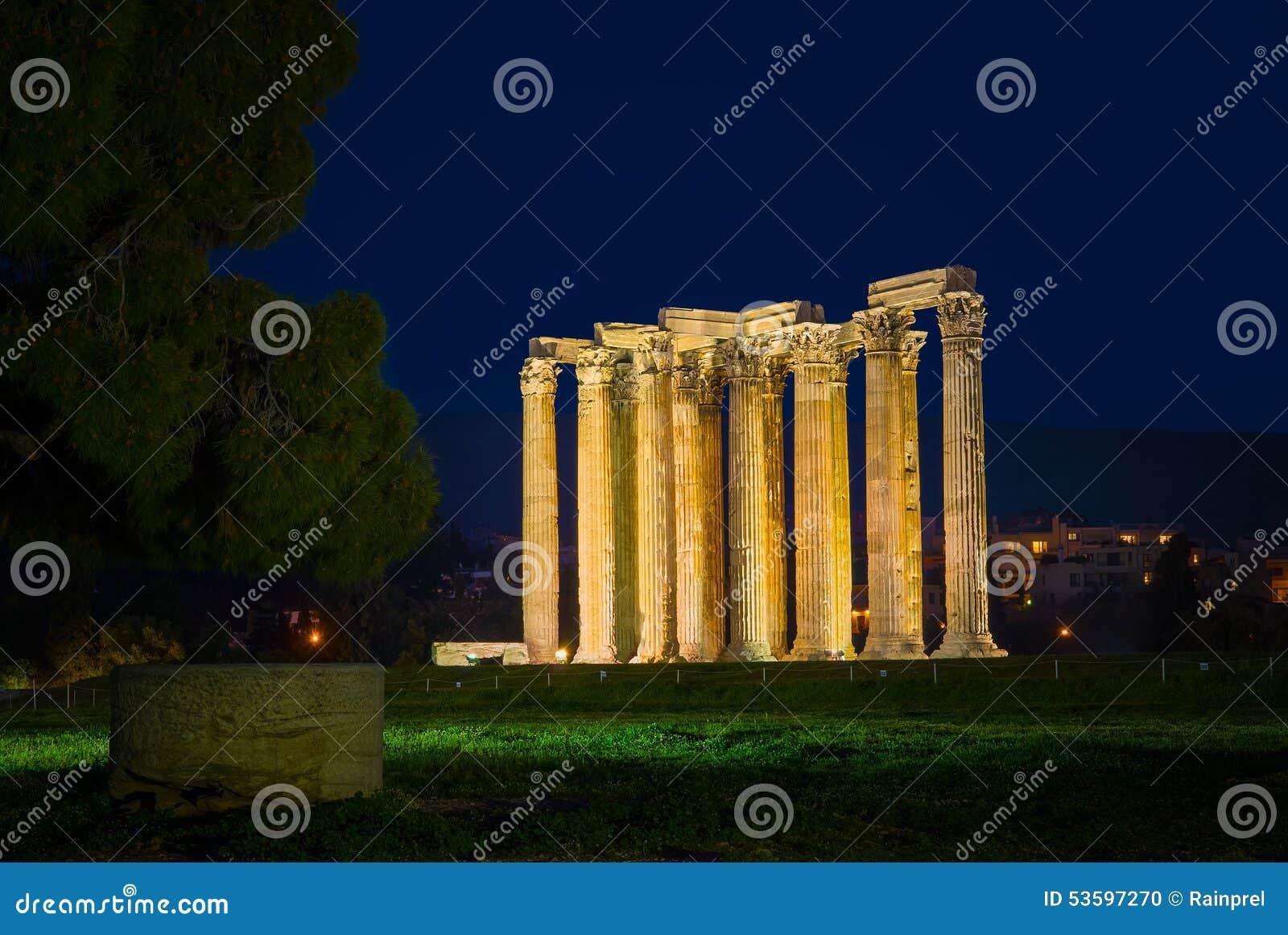 奥林山宙斯寺庙在雅典,希腊