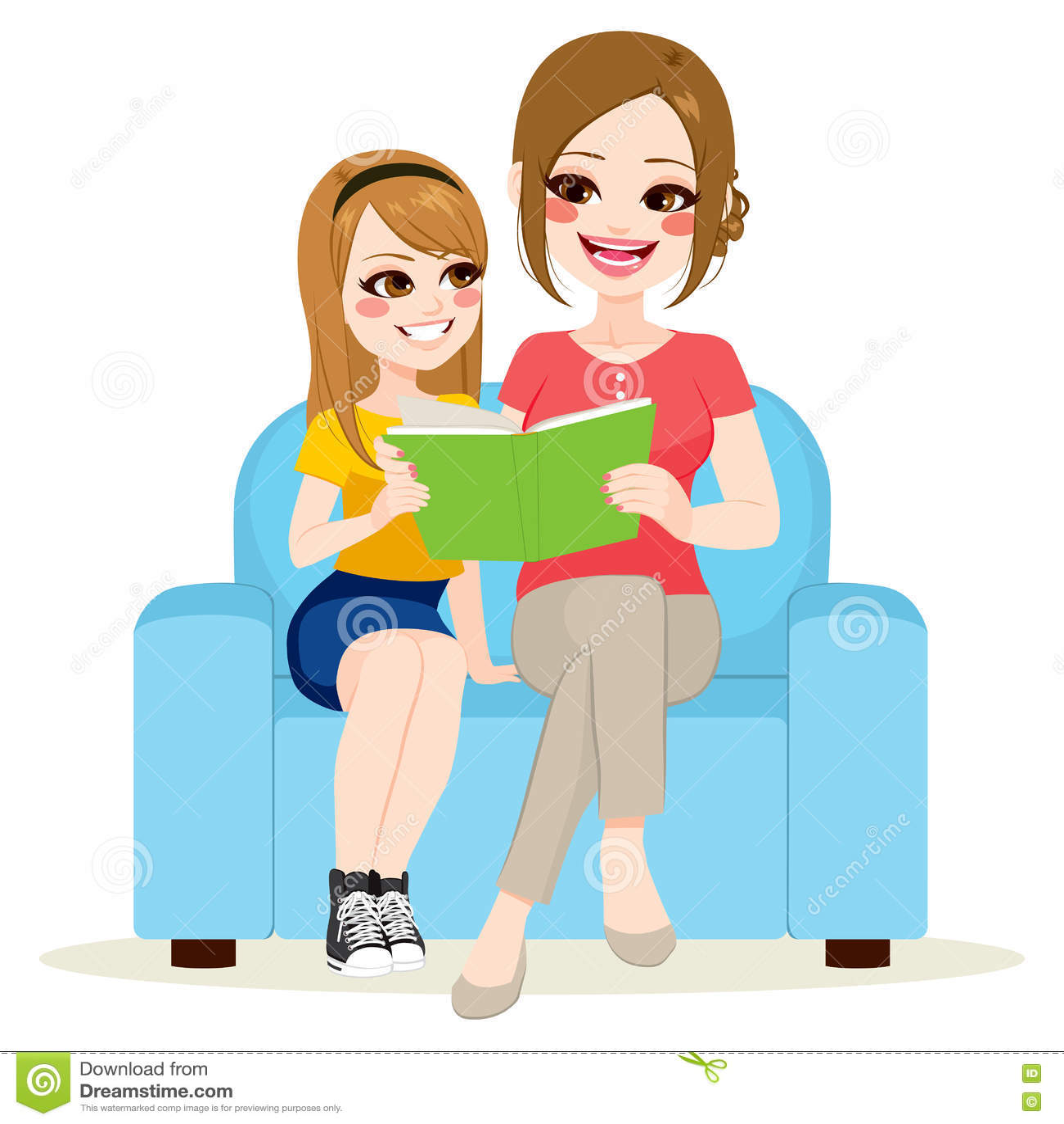 女儿和母亲坐的沙发