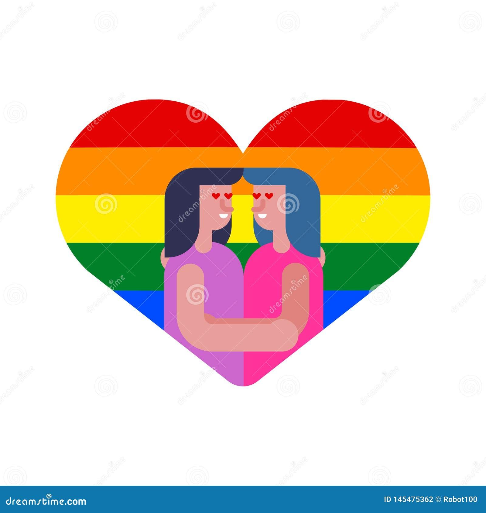 女同性恋的恋人在心脏 结合两个女孩 LGBT爱标志标志