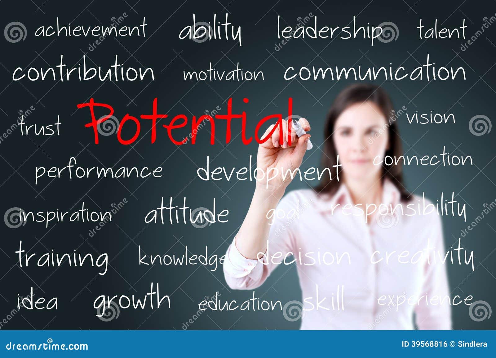 年轻女商人文字潜力概念
