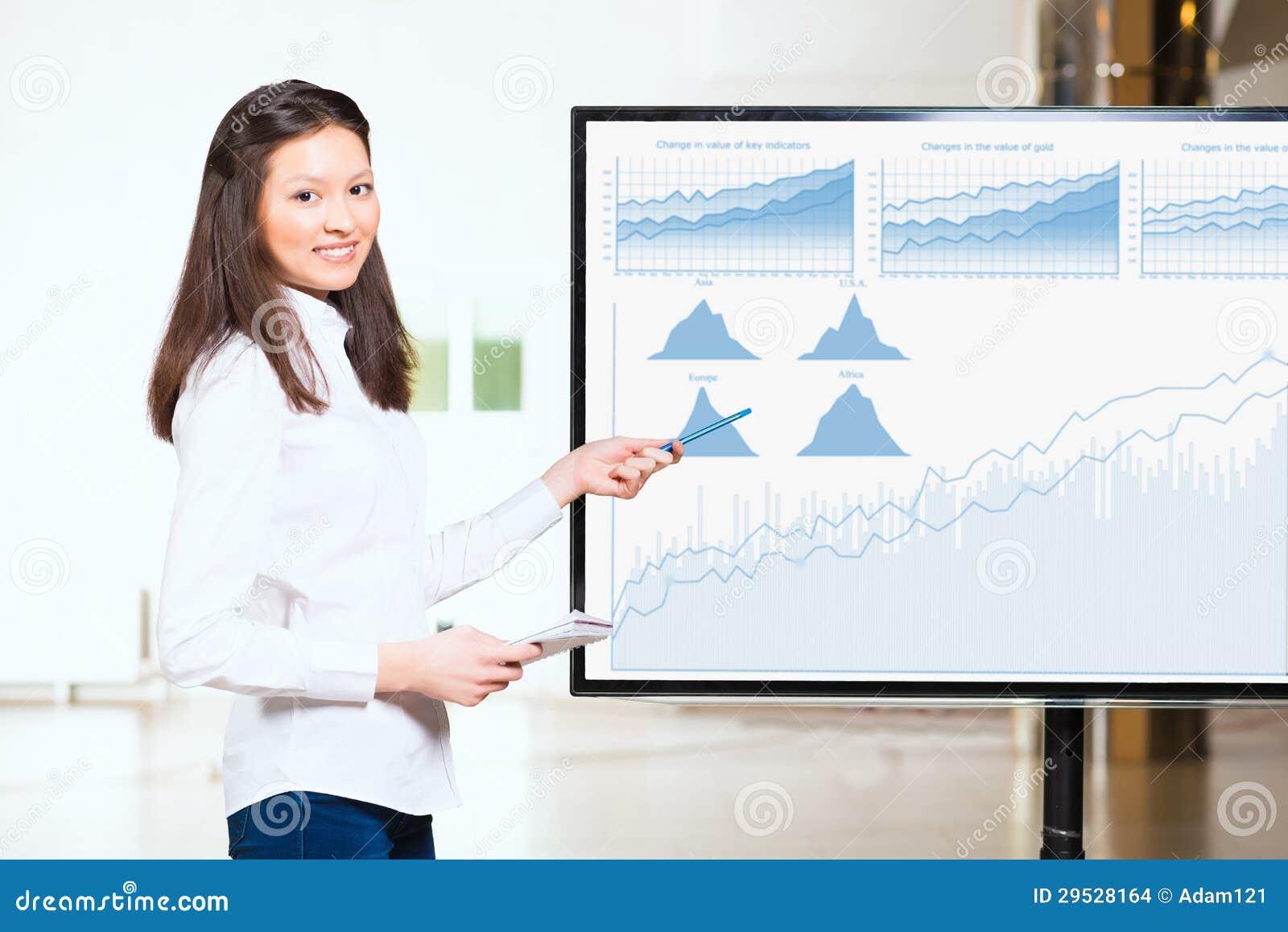 年轻女商人显示世界地图