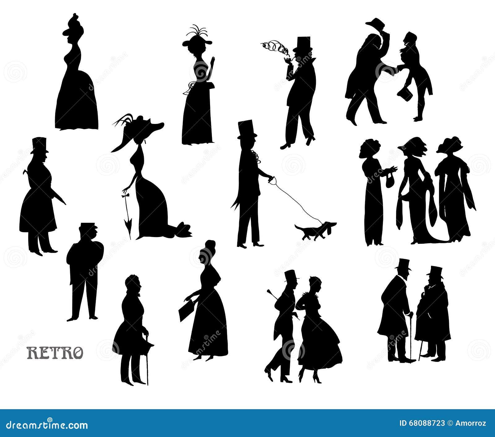 女士们先生们步行的 符号葡萄酒样式,黑白剪影 大集.