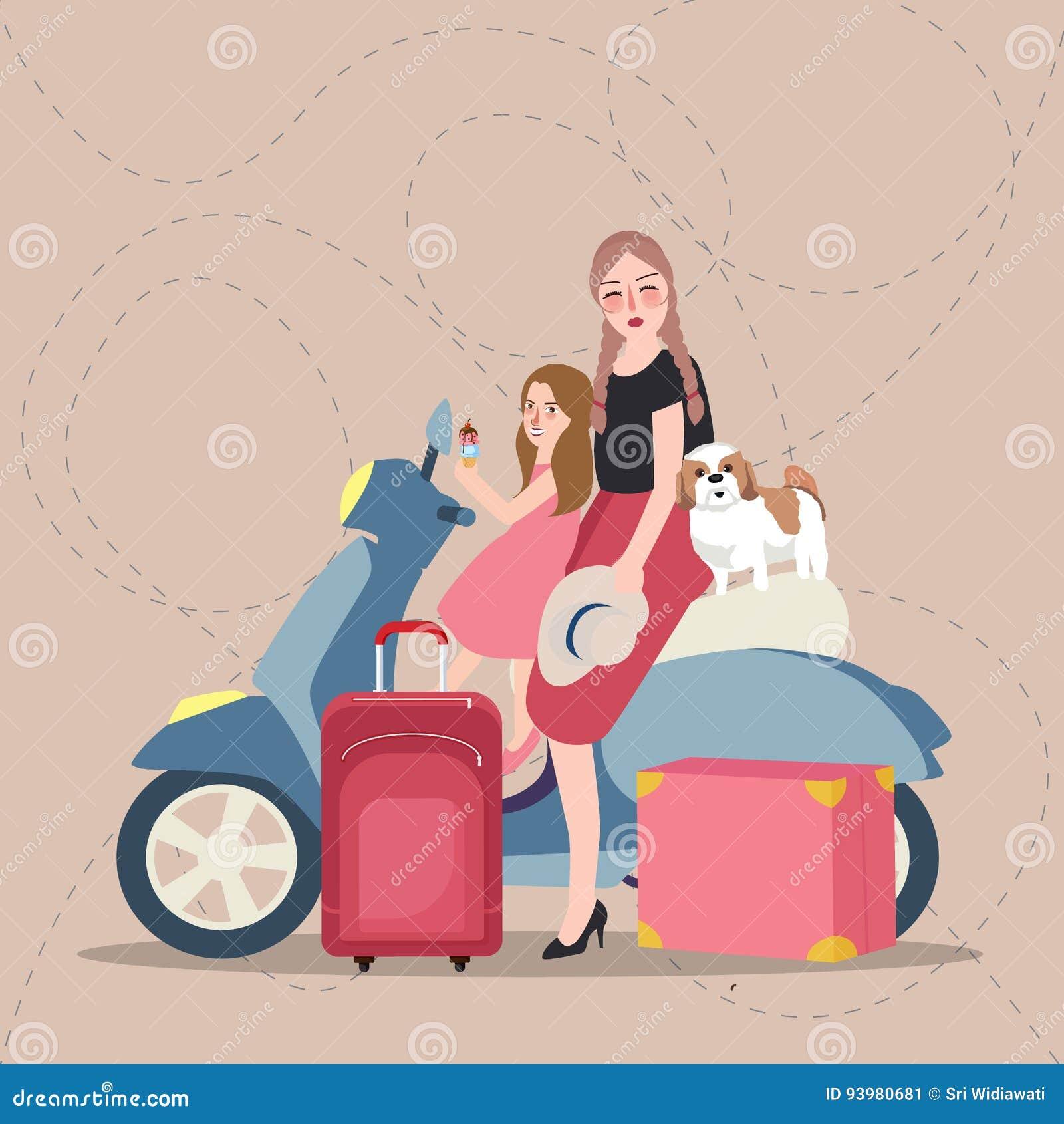 女孩乘坐滑行车的妈妈和孩子带来袋子游人