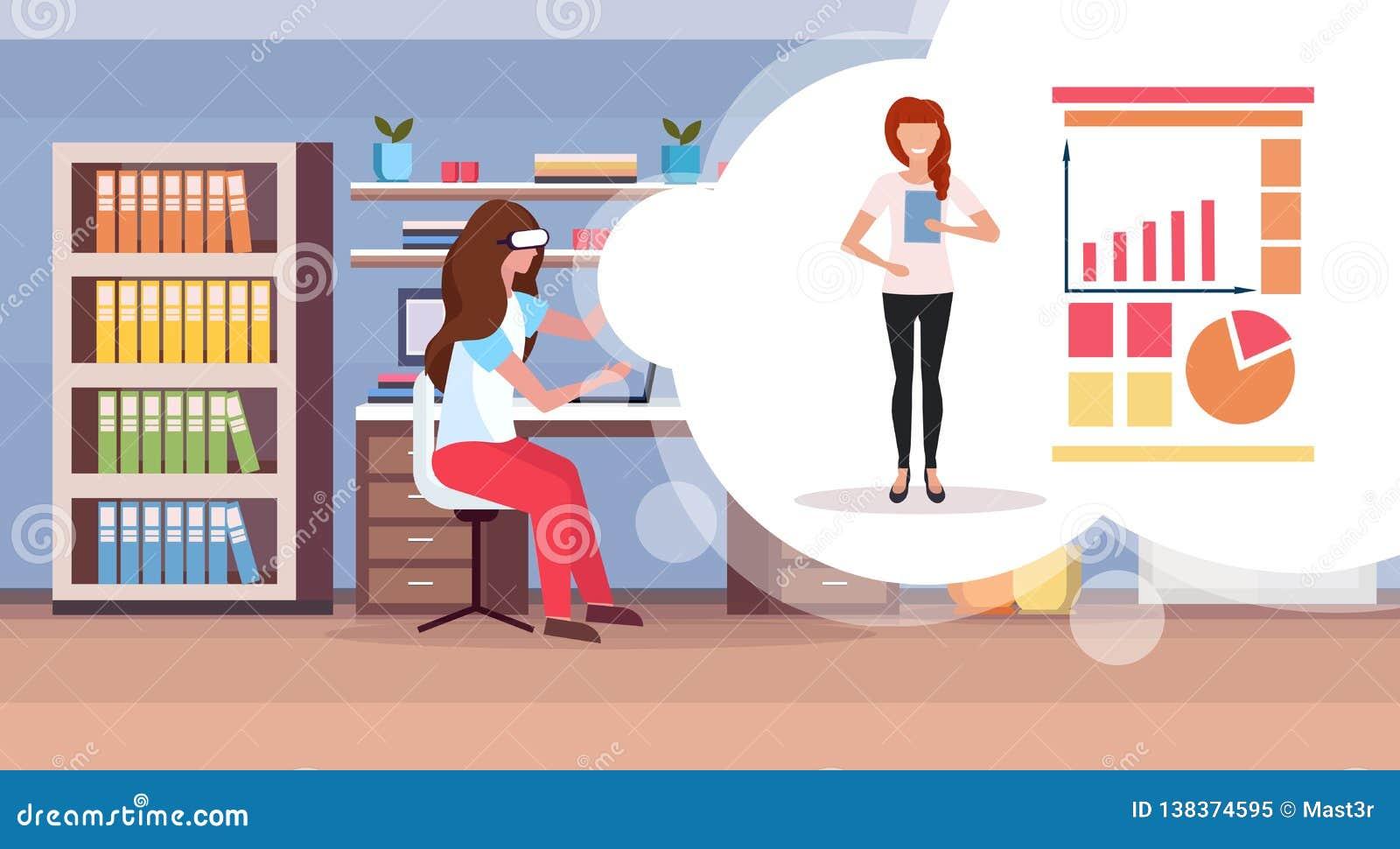 女孩佩带数字玻璃虚拟现实妇女的开会工作场所做介绍财政统计图表
