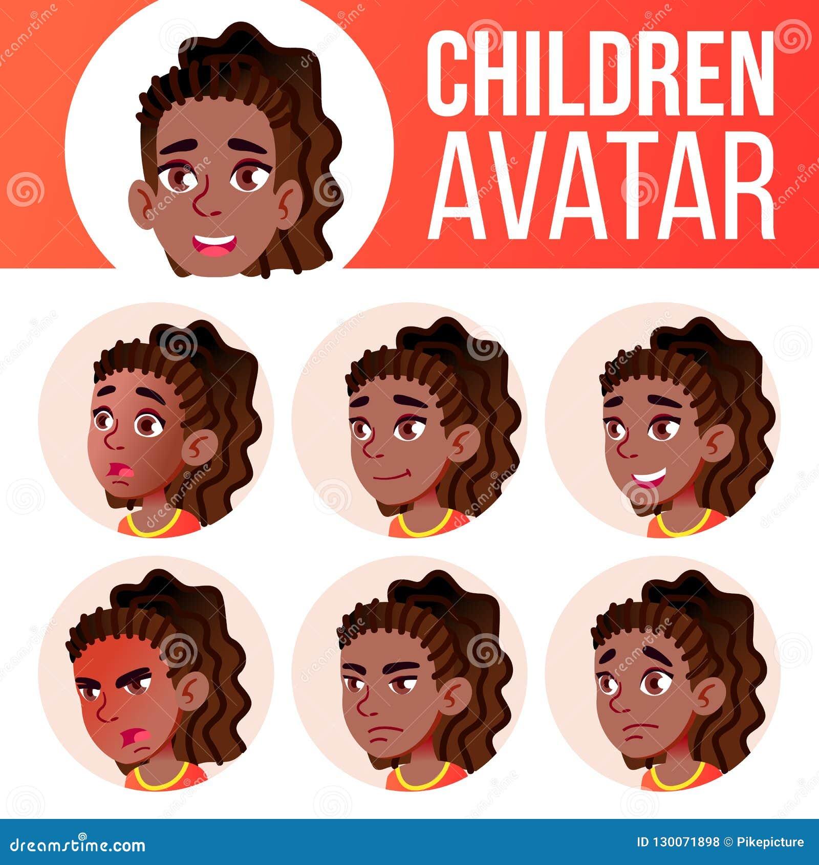 女孩具体化集合孩子传染媒介 投反对票 美国黑人 高中 面对情感 脸面护理,人们 激活,喜悦 动画片愉快的顶头例证人