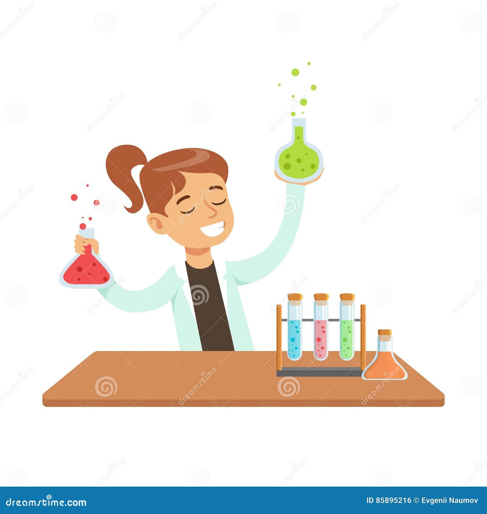 女孩化学家和化学制品实验,做科学研究的孩子作梦的成为的专业科学家