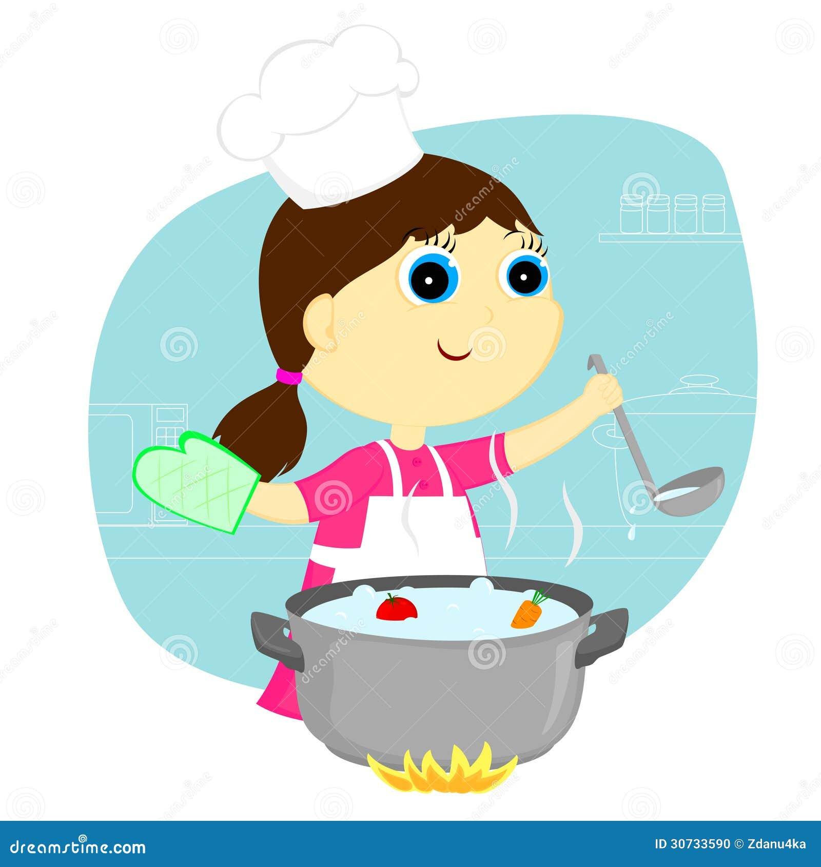 女孩厨师图片