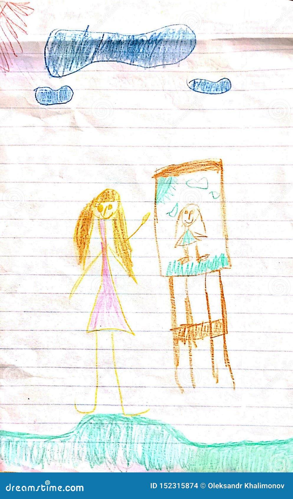 女孩和她的图画在画板
