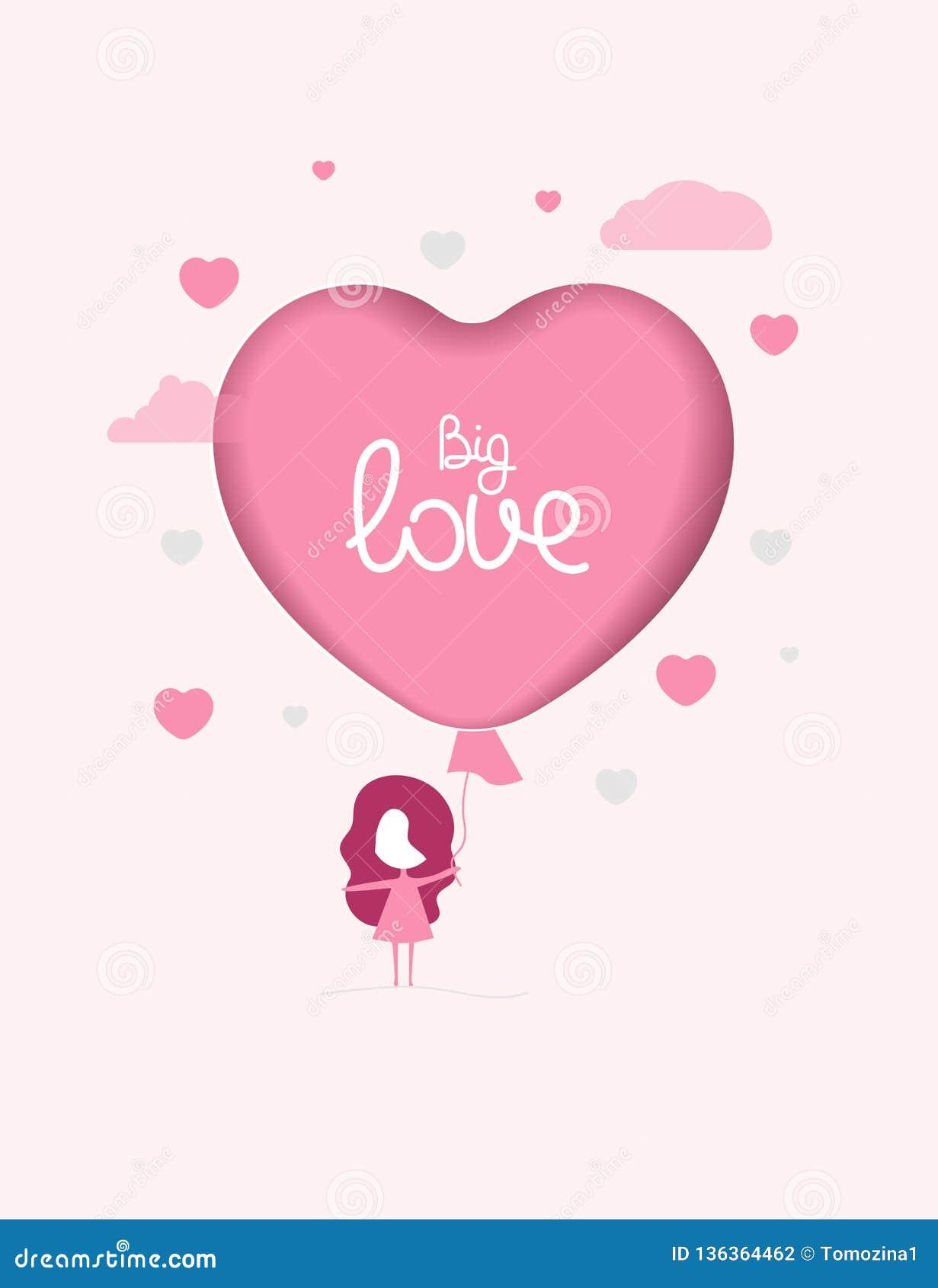 女孩和桃红色气球