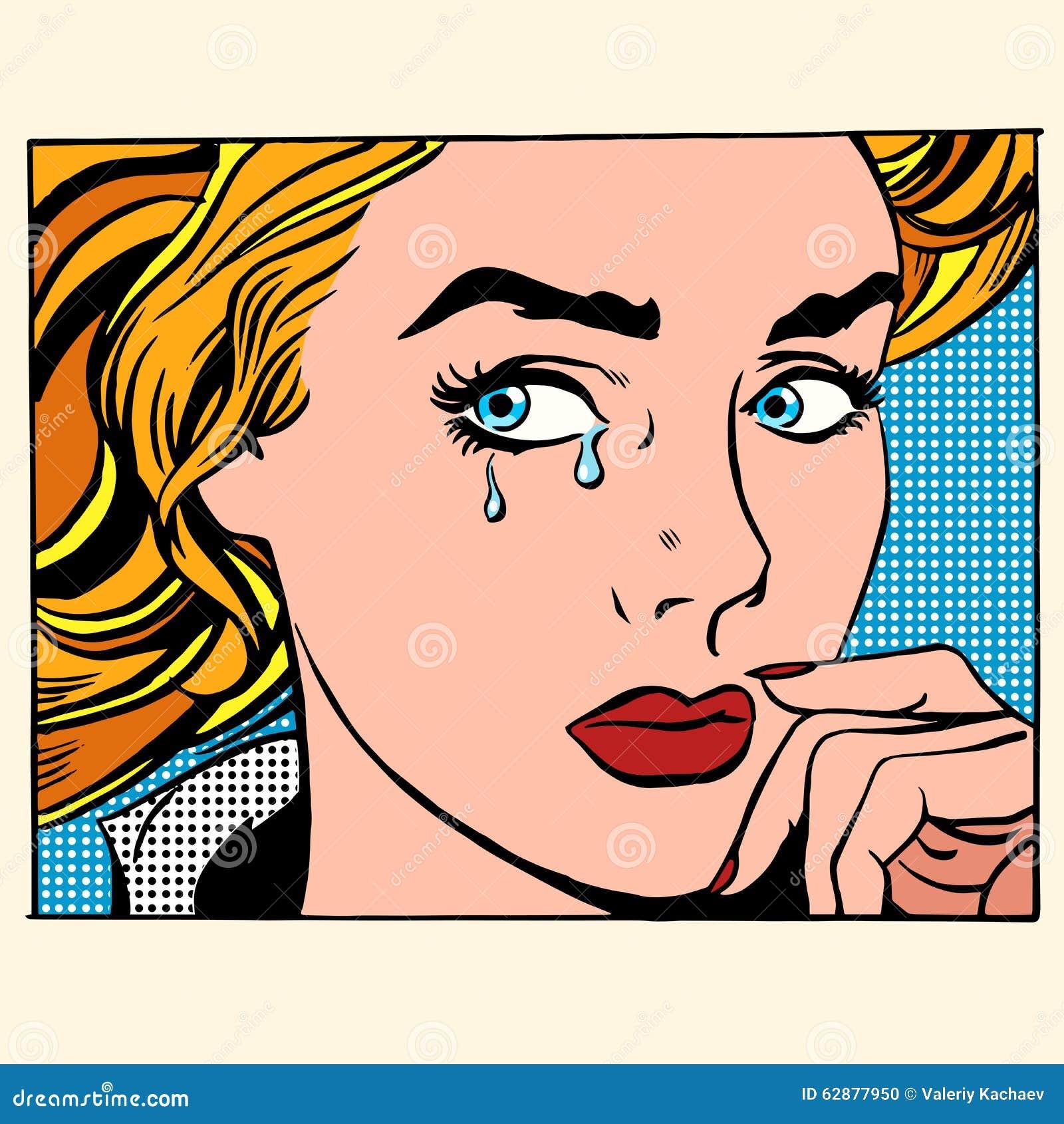 女孩哭泣的妇女面孔
