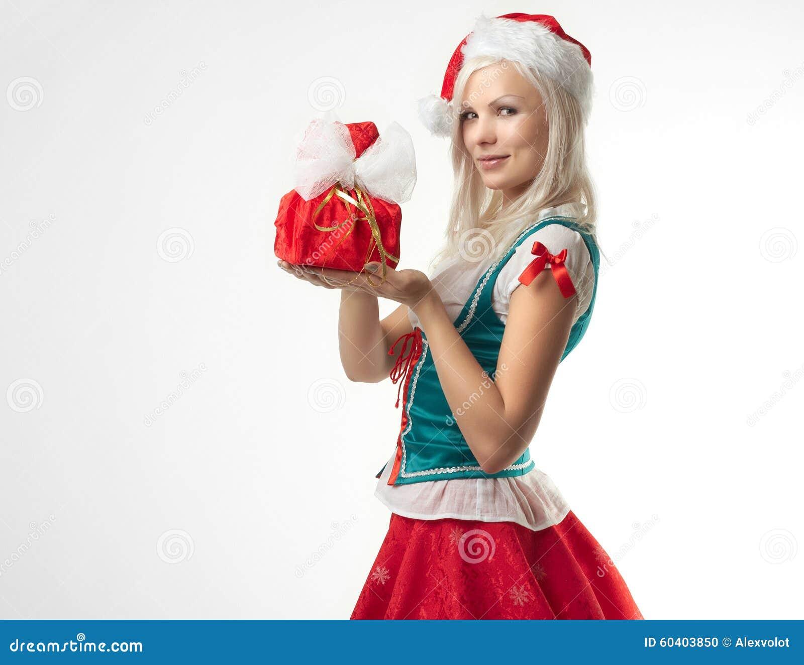 女孩圣诞老人性感的年轻人