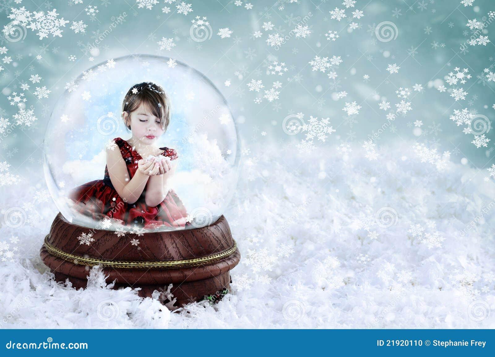 女孩地球雪