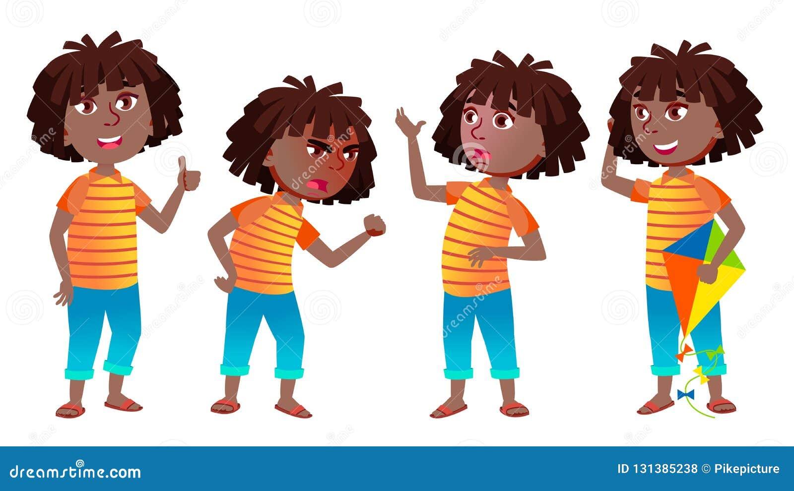 女孩女小学生孩子姿势被设置的传染媒介 投反对票 美国黑人 高中孩子 中等教育 年轻,逗人喜爱,可笑
