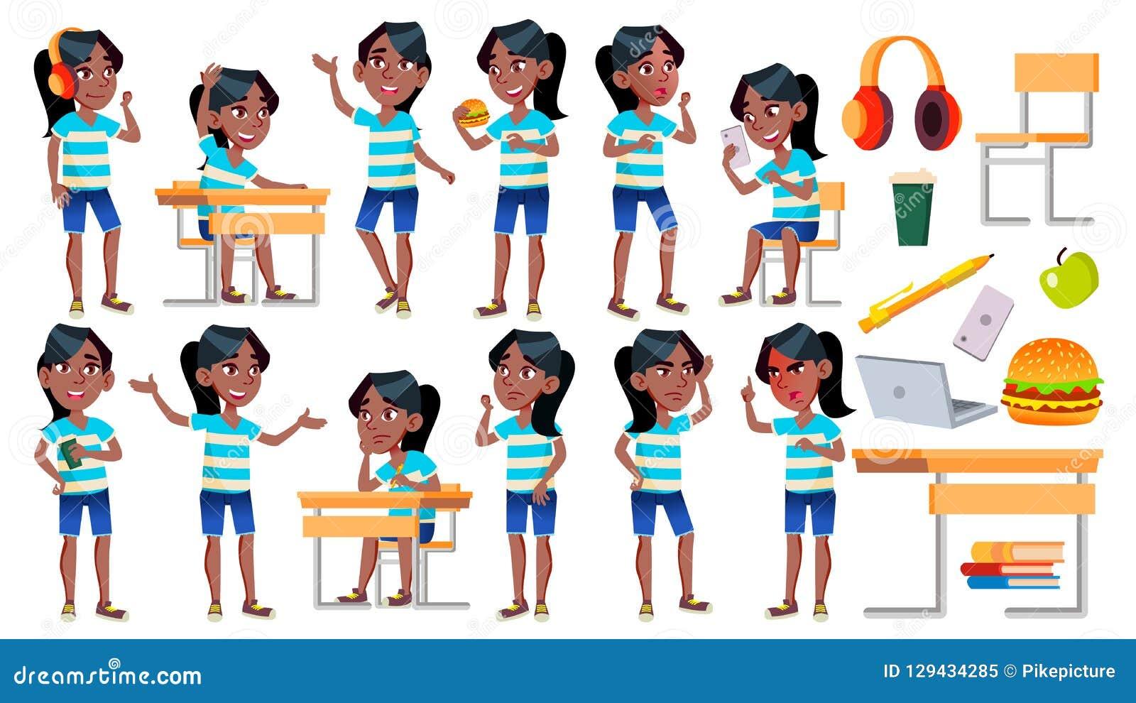 女孩女小学生孩子姿势被设置的传染媒介 投反对票 美国黑人 高中孩子 儿童研究 知识,学会,教训