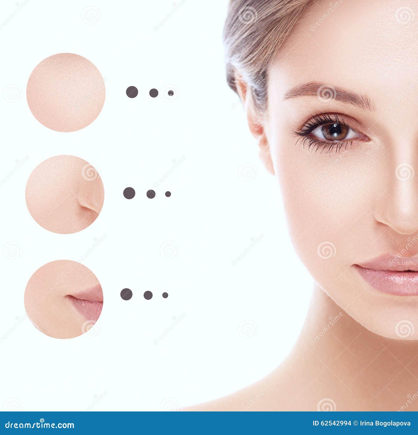 女孩妇女画象有问题和清楚的皮肤的,青年概念 半的表面
