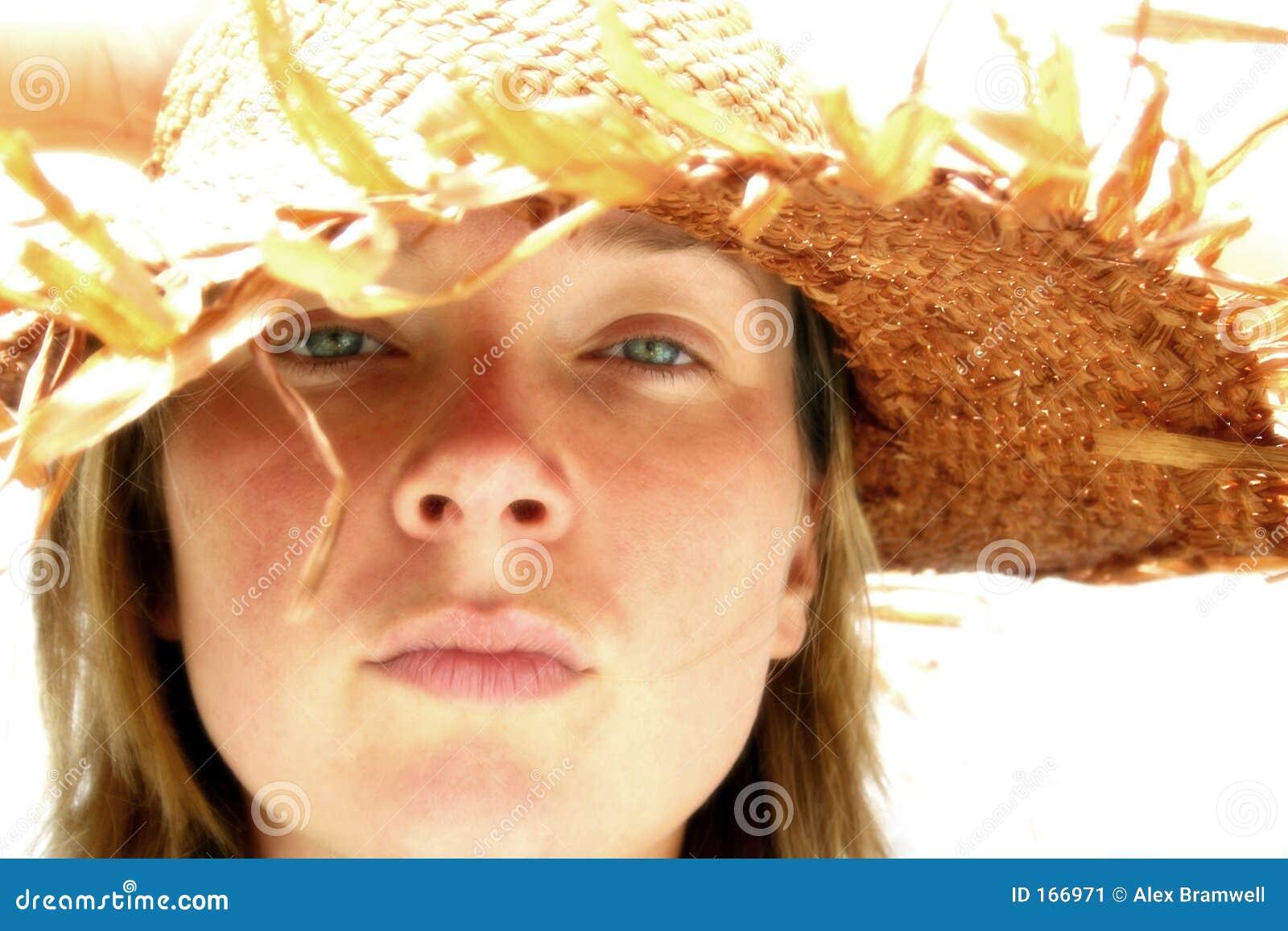 女孩帽子秸杆