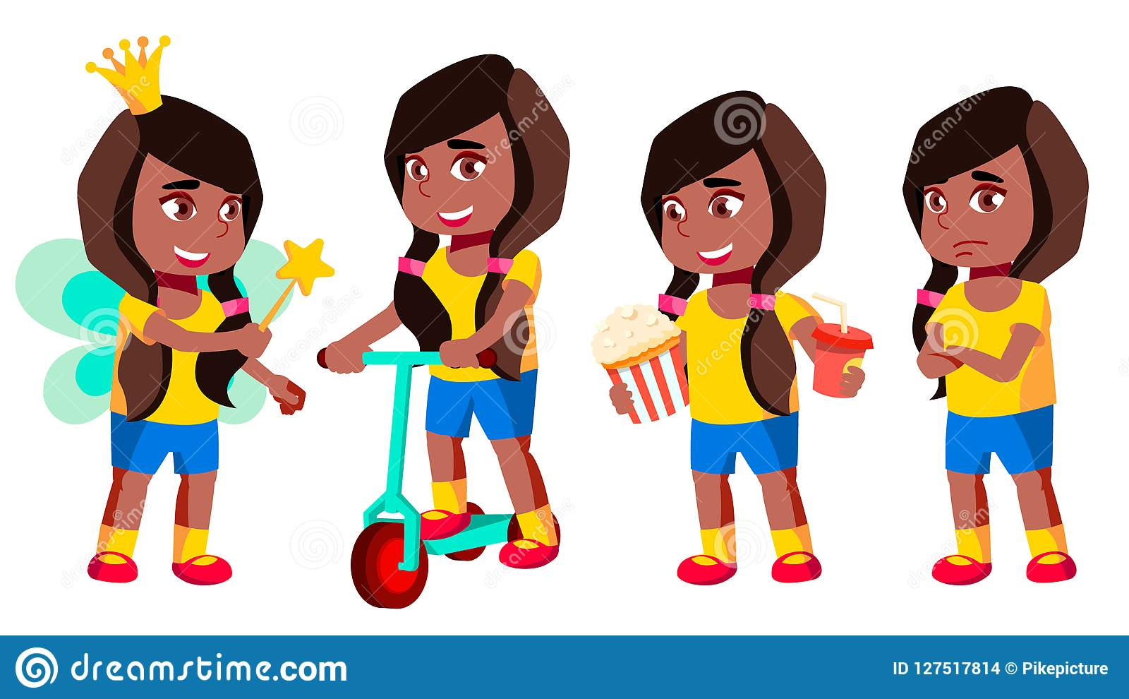女孩幼儿园孩子姿势被设置的传染媒介 投反对票 美国黑人 幼稚园 年轻正面人 beauvoir 对横幅