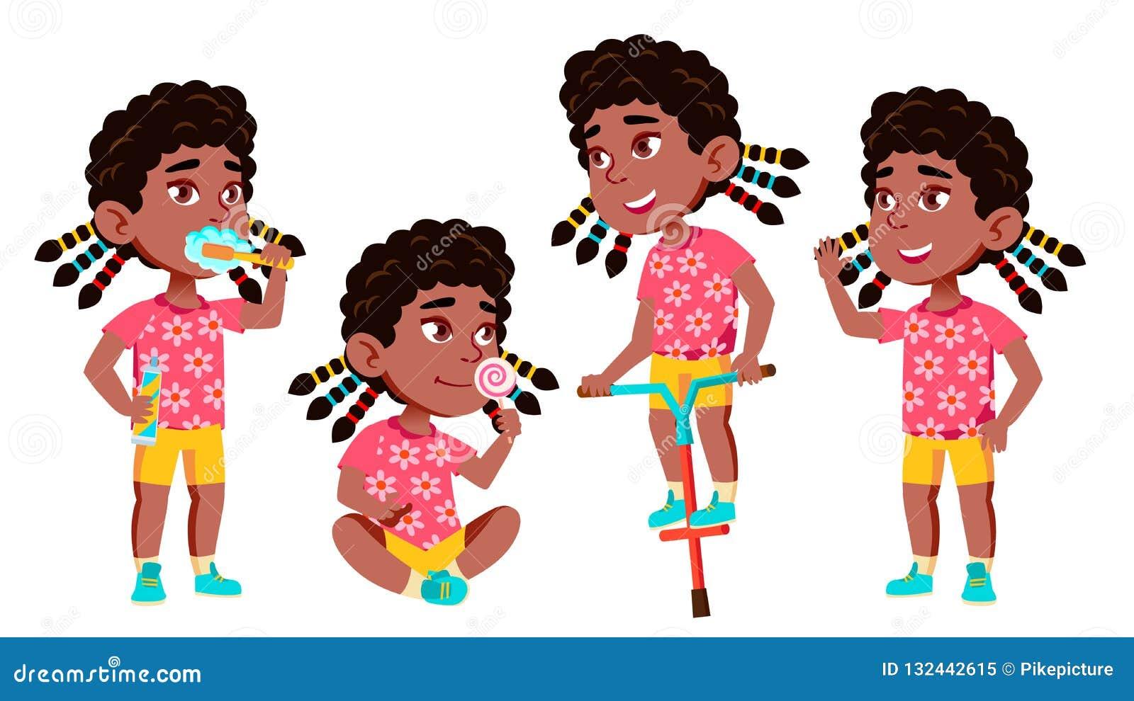 女孩幼儿园孩子姿势被设置的传染媒介 投反对票 美国黑人 愉快的漂亮的孩子字符 对做广告
