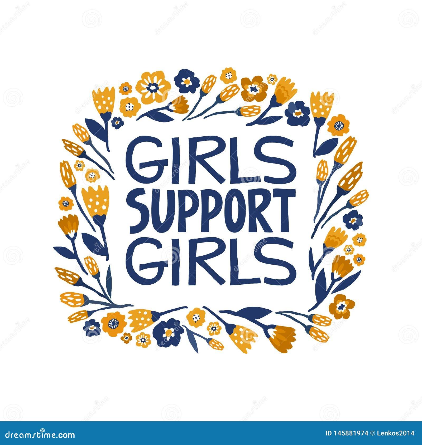 女孩支持女孩-手拉的在上写字的行情 在传染媒介做的女权主义行情 妇女诱导口号 ??