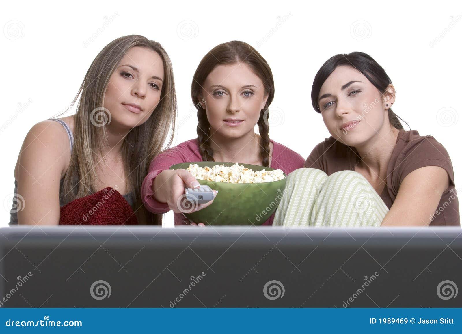 女孩电视注意
