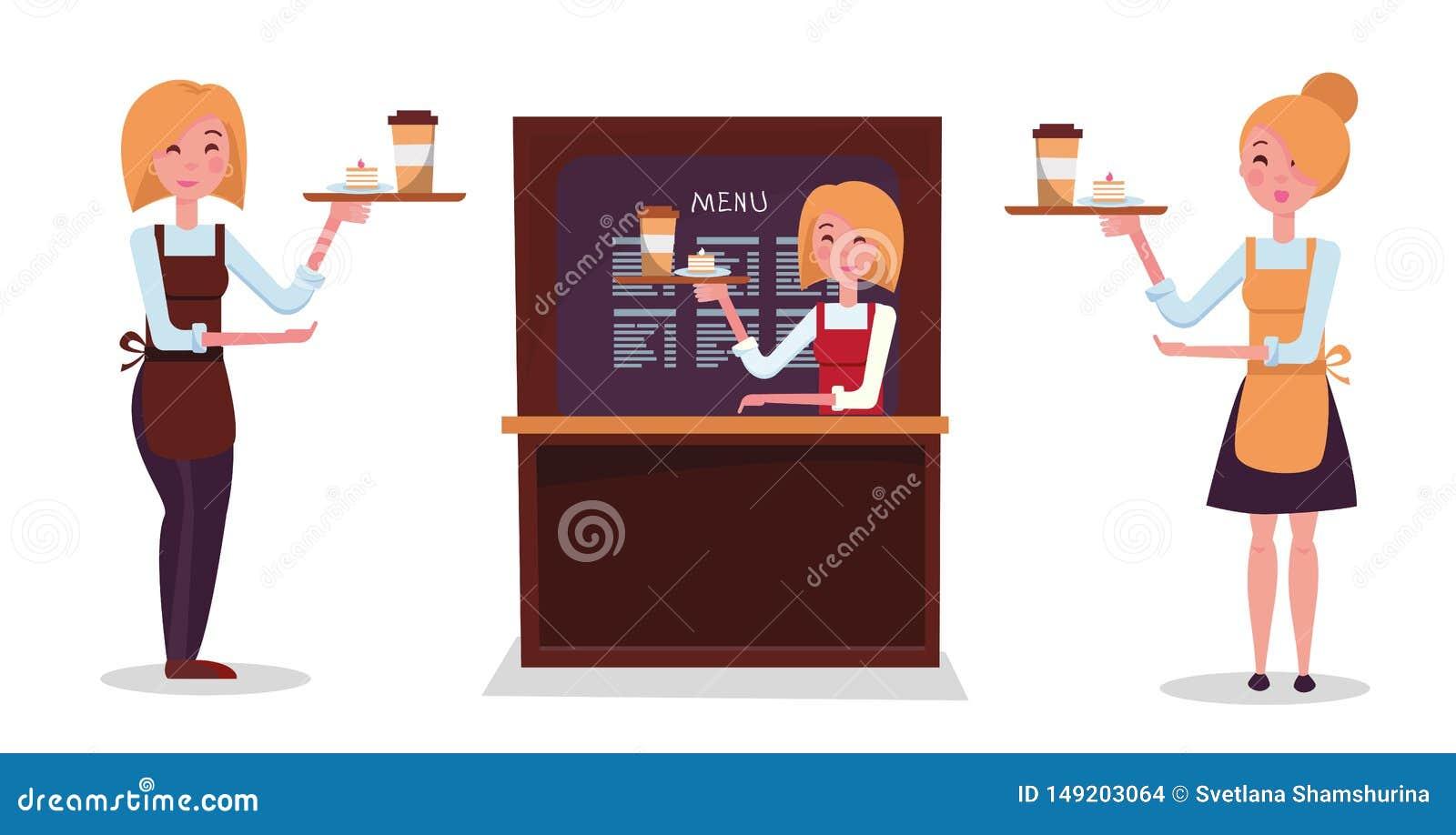 女孩白肤金发的侍者 设置三位女服务员:在裙子,在长裤,在柜台后 字符拿着有命令的盘子:纸