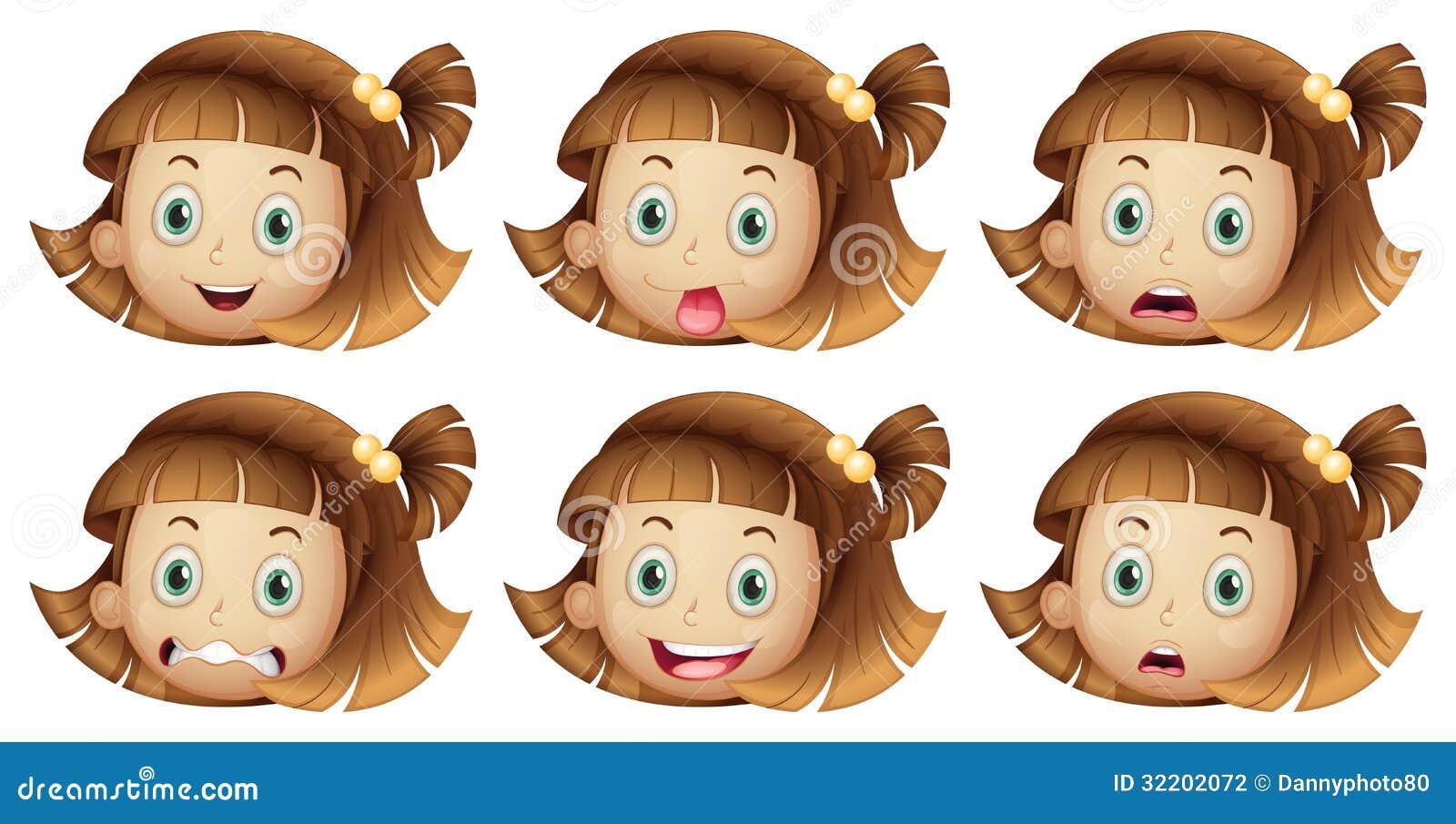 一个女孩的不同的表情的例证白色背景的.图片