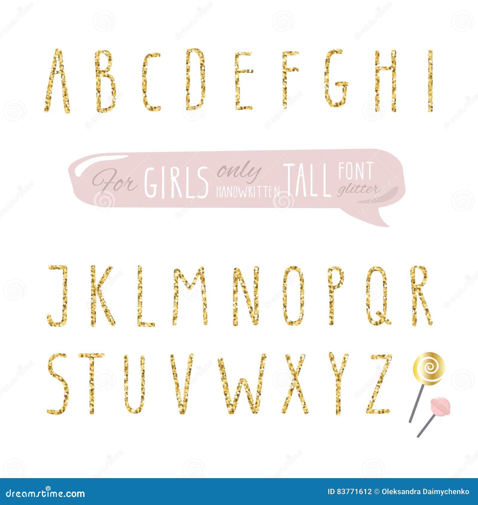 女孩的逗人喜爱的手拉的狭窄的闪烁字体 高发光的字母表 乱画书面浓缩的稀薄的信件