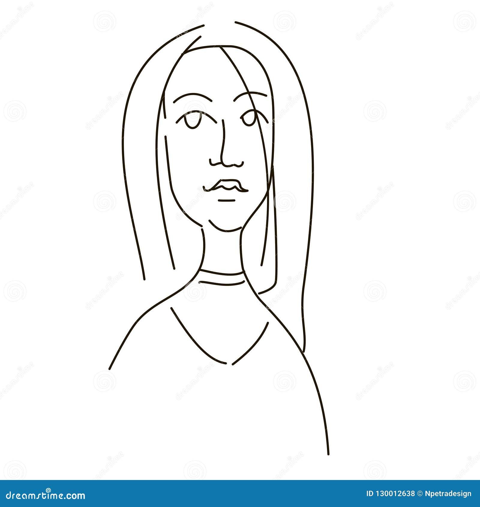 女孩的面孔的线性图画