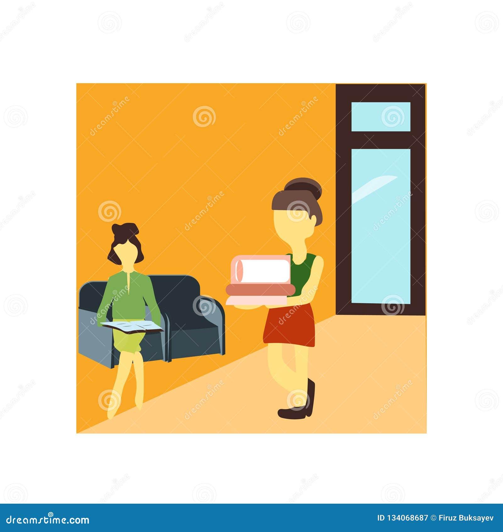 女孩看书传染媒介在白色背景和标志隔绝的传染媒介标志,女孩看书传染媒介商标概念