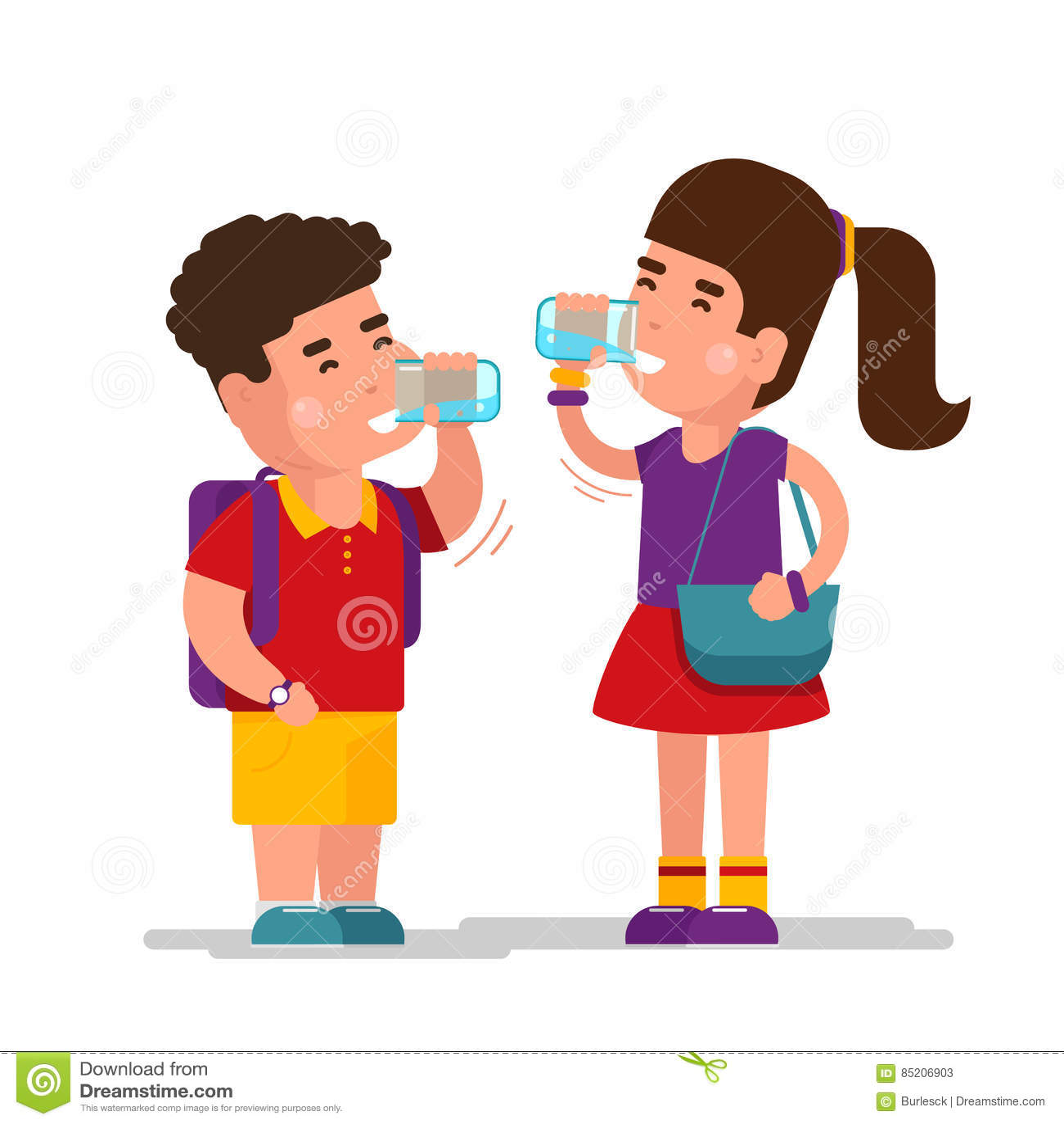 女孩饮料蓝色刷新放松喝从干净的玻璃传染媒介例证的水和男孩