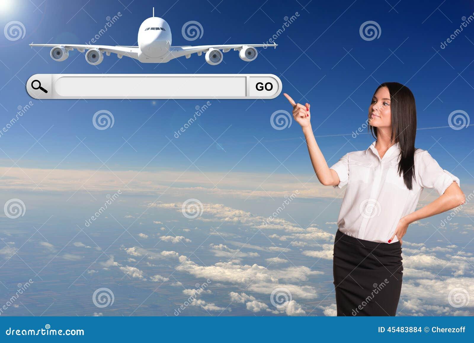女实业家和搜索字符串 乘客