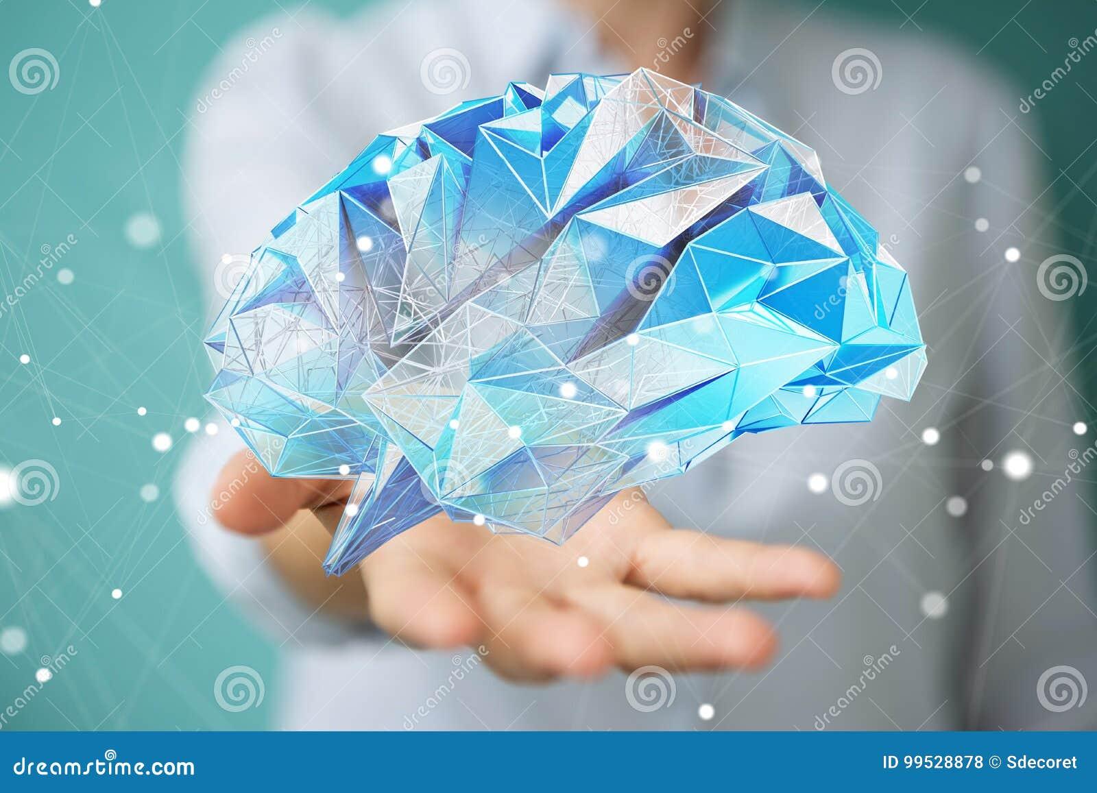女实业家在她的手3D r上的拿着数字式X-射线人脑