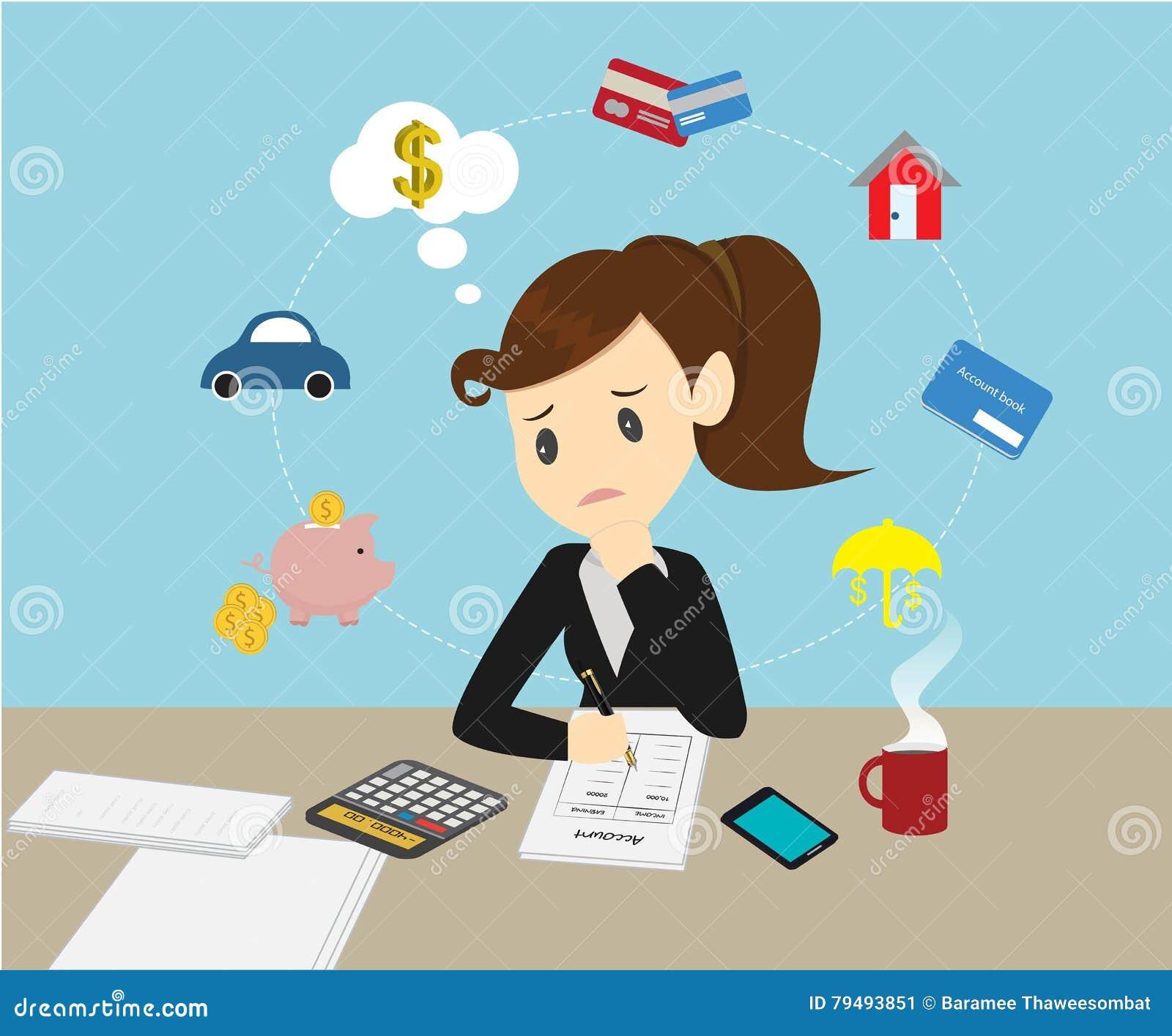 女实业家处理帐户收入的家庭财务和前