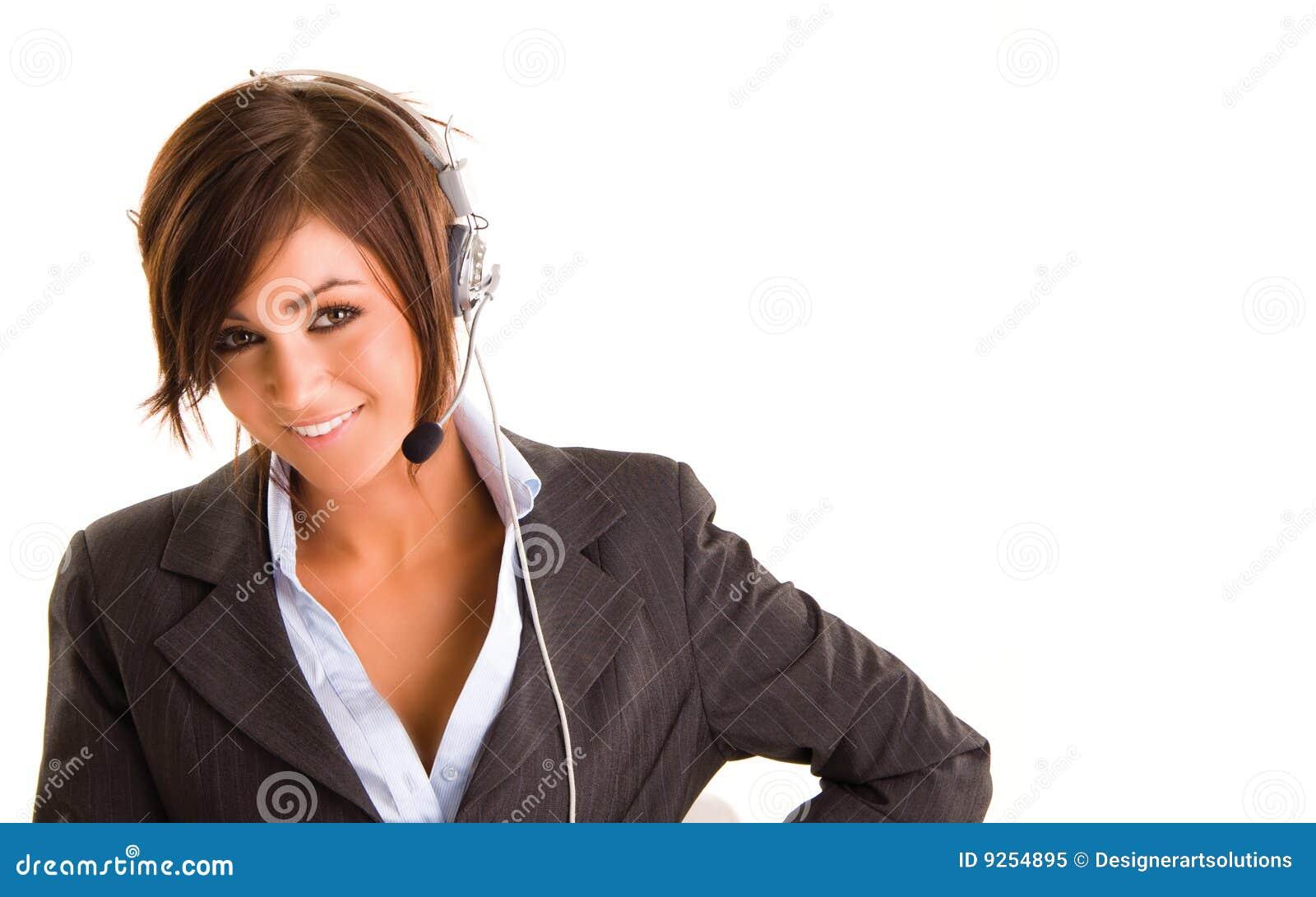 女实业家耳机