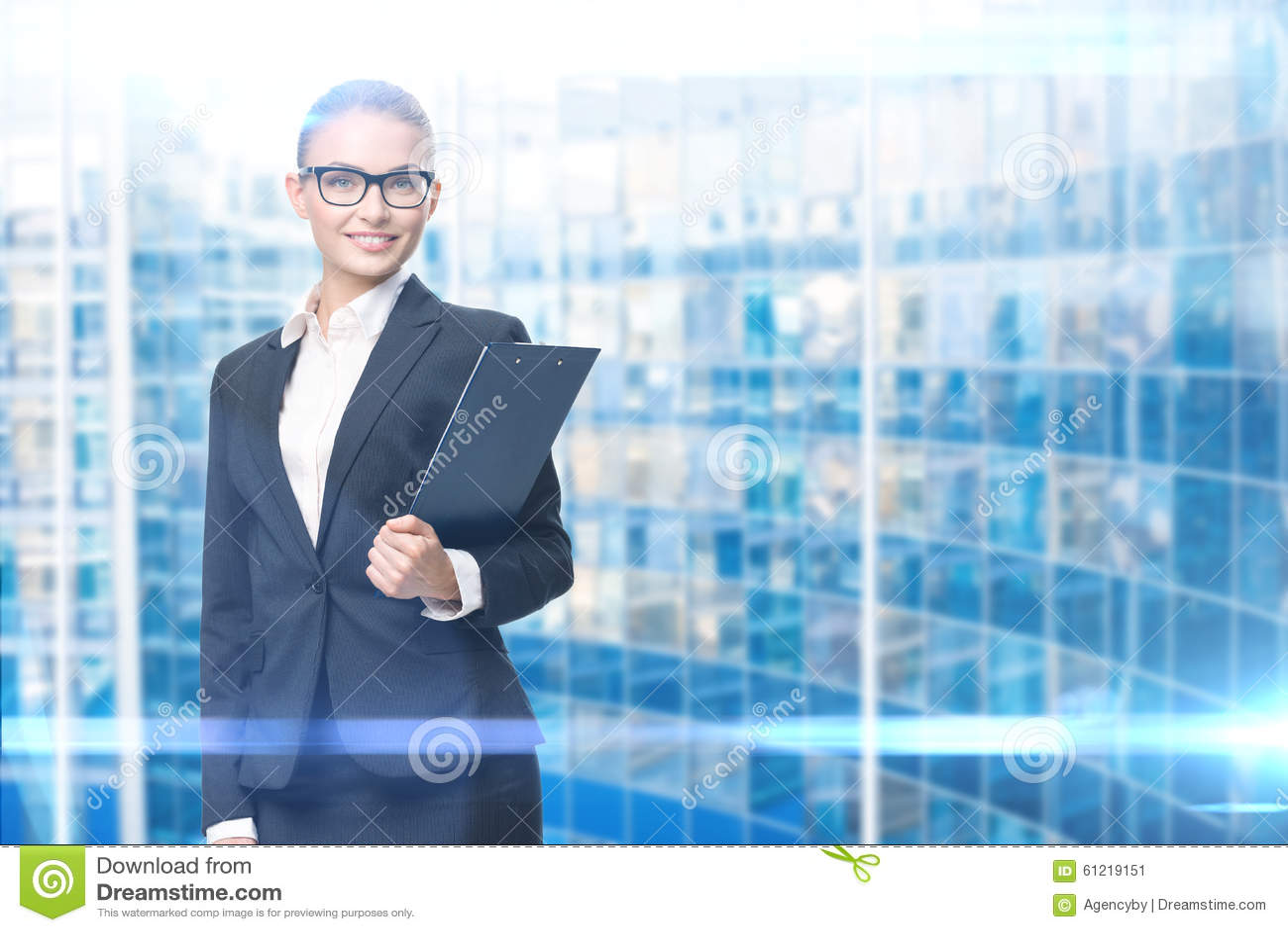 女实业家画象有文件的