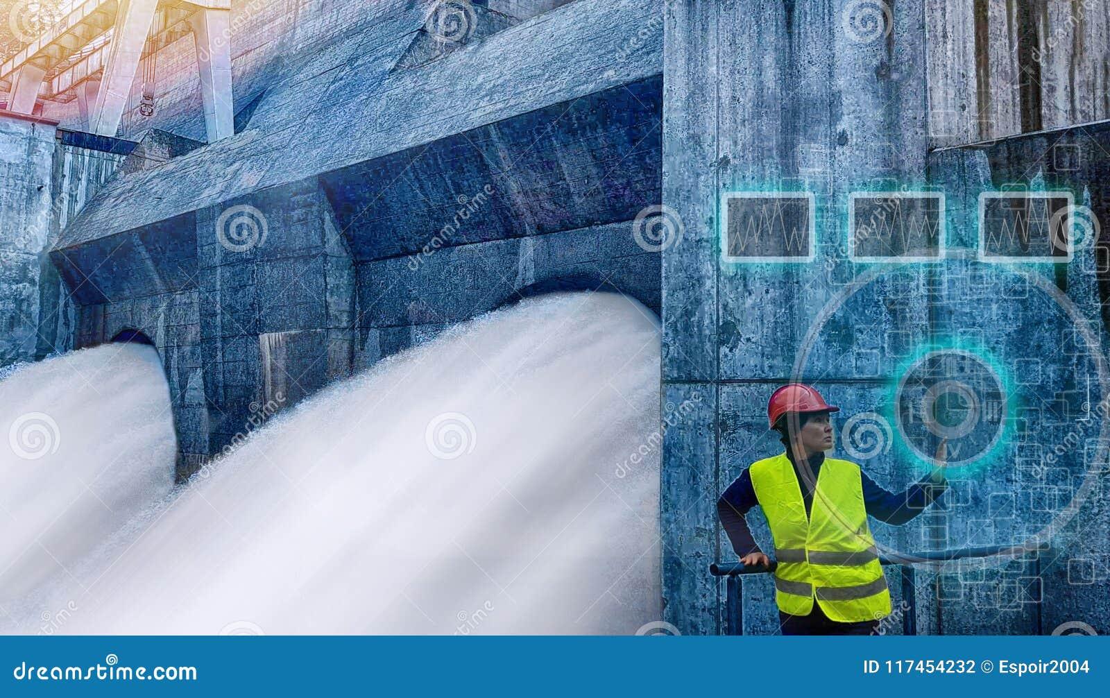 女工监测水力发电的涡轮
