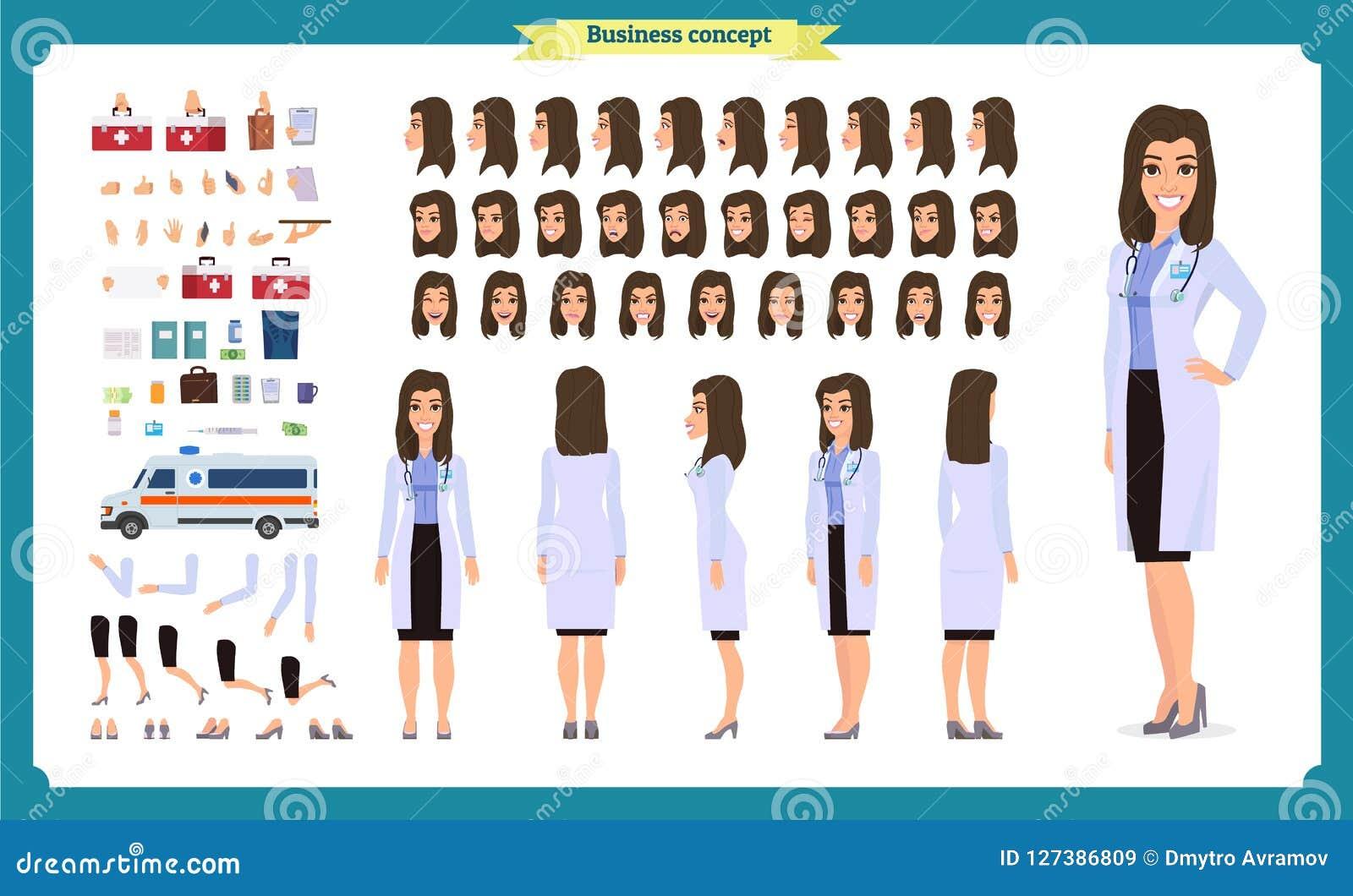 女性医生字符创作集合 前面,边,后面看法给字符赋予生命 医生字符创作设置有各种各样的看法